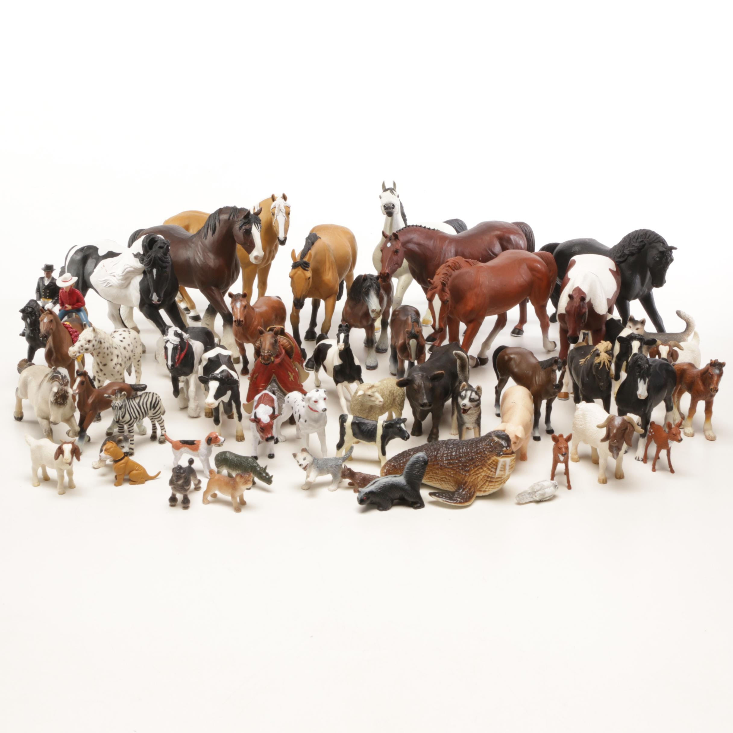 Horses and Farm Animals with Household and Zoo Animals