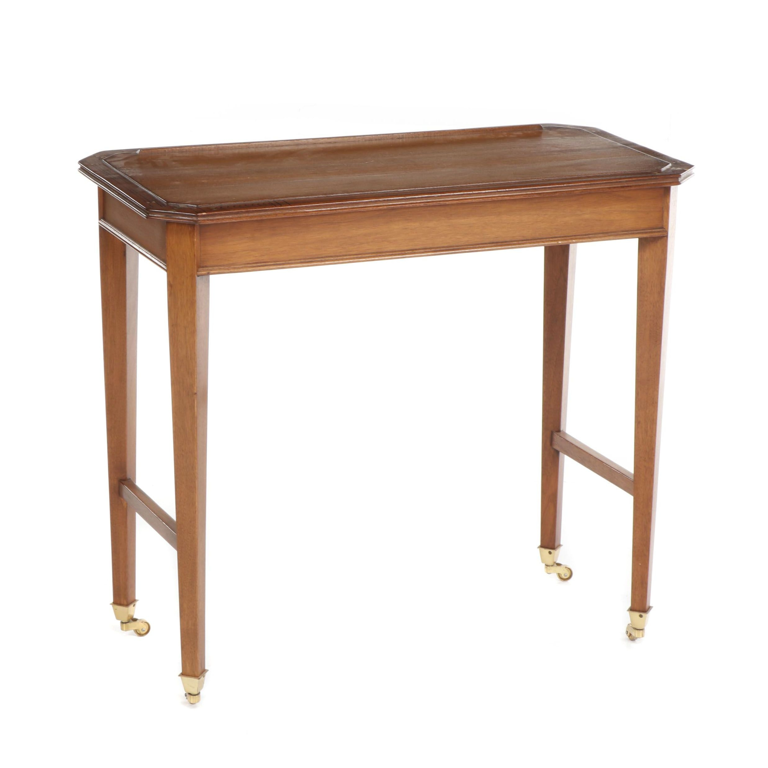 Drawing Desk with Adjustable Surface, Geometric Pattern Trim and Brass Casters