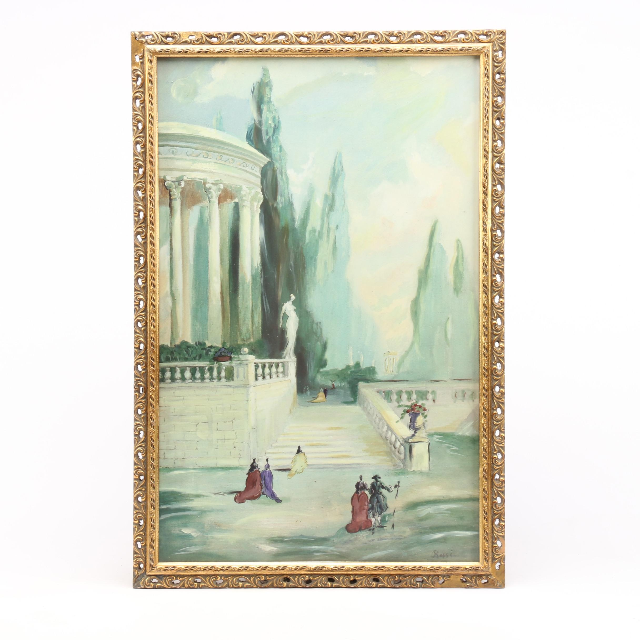 Rossi Hand-Embellished Giclée of Italian Courtyard