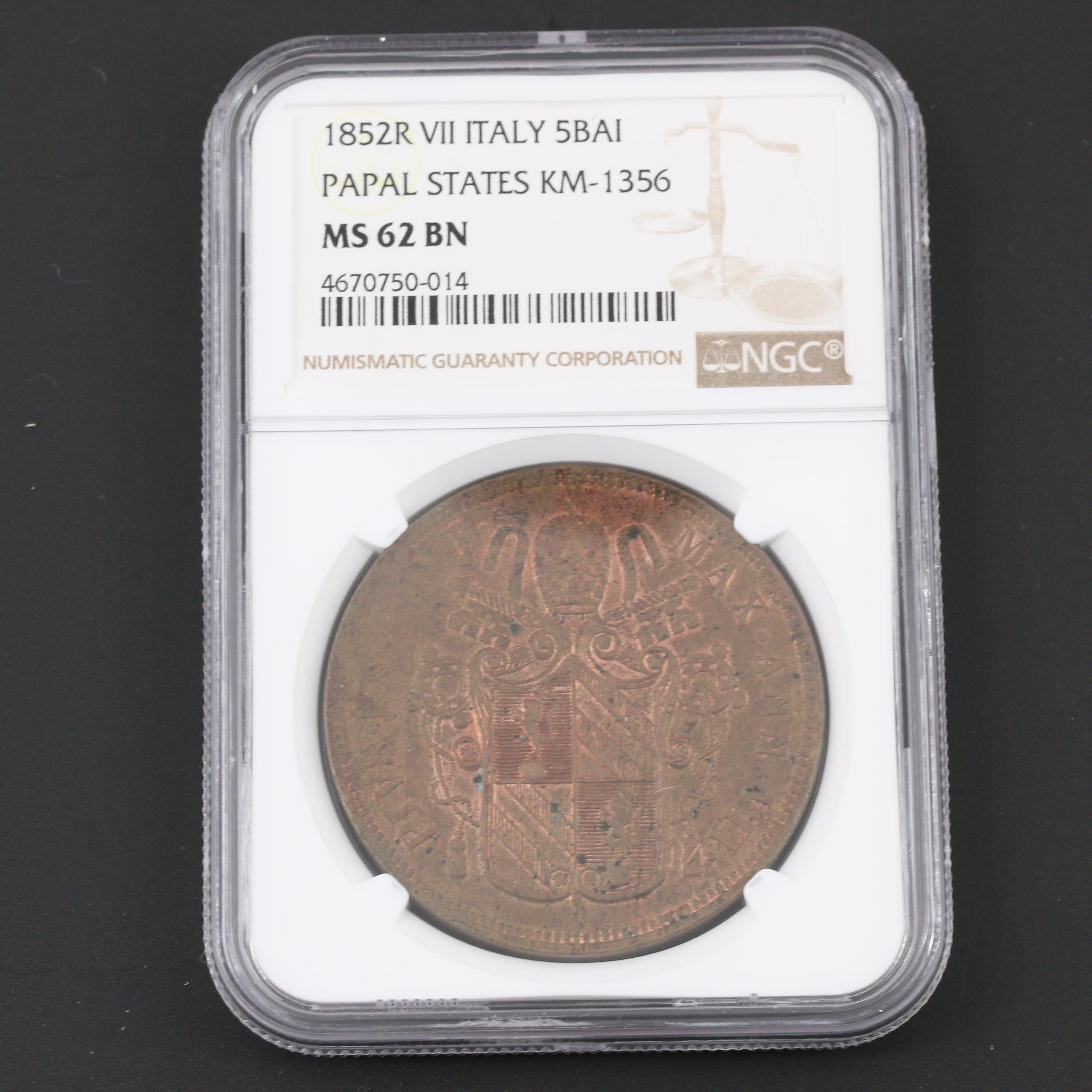 NGC Graded MS62 1852-R Italy Papal States 5 Baiocchi Copper Coin