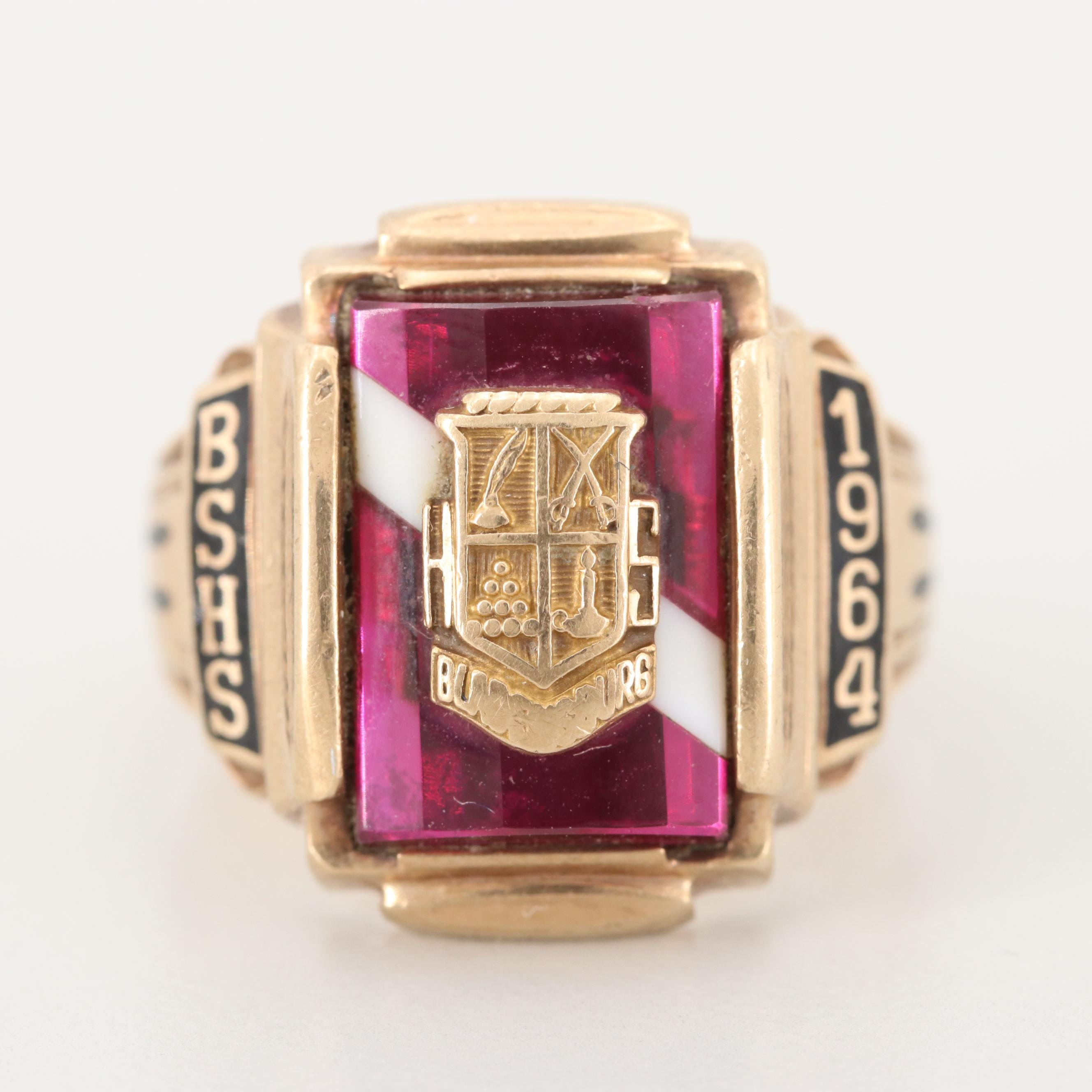 10K Yellow Gold Synthetic Ruby with Agate Inlay and Enamel Ring