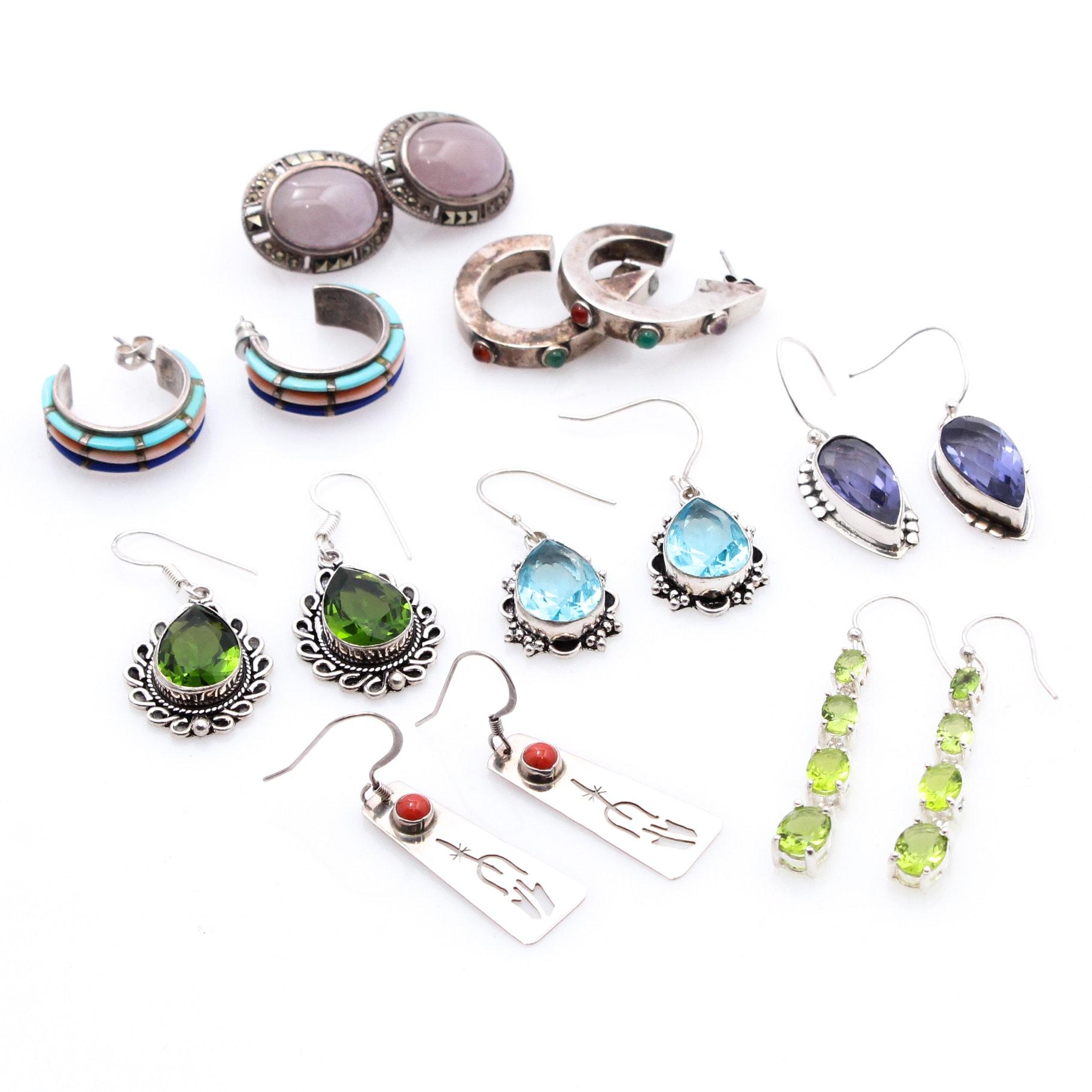 Southwestern Style Sterling Silver Earrings