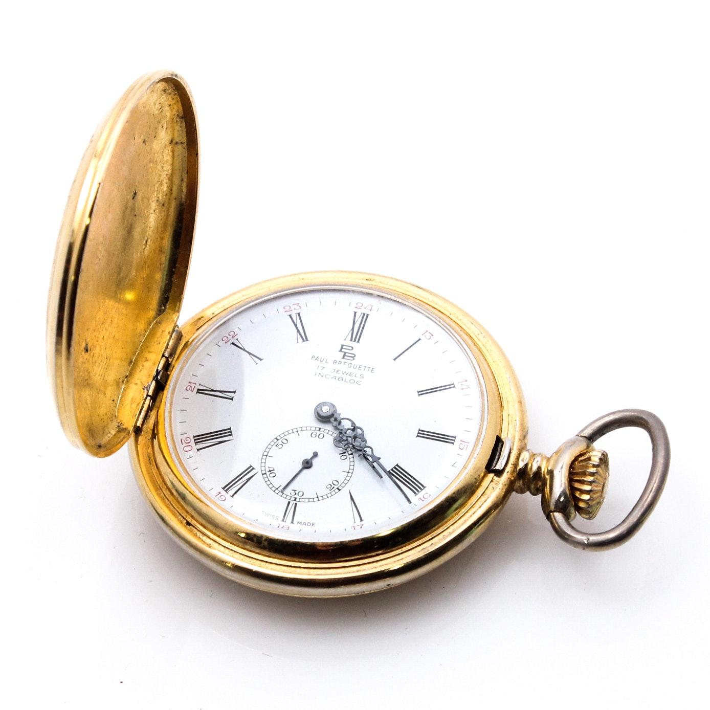 Paul Breguette Gold Tone 17 Jewel Pocket Watch