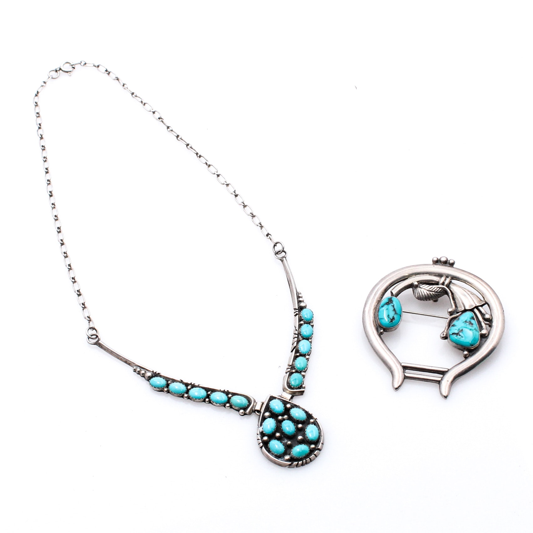 Southwestern Style Sterling Silver and Turquoise Necklace and Brooch