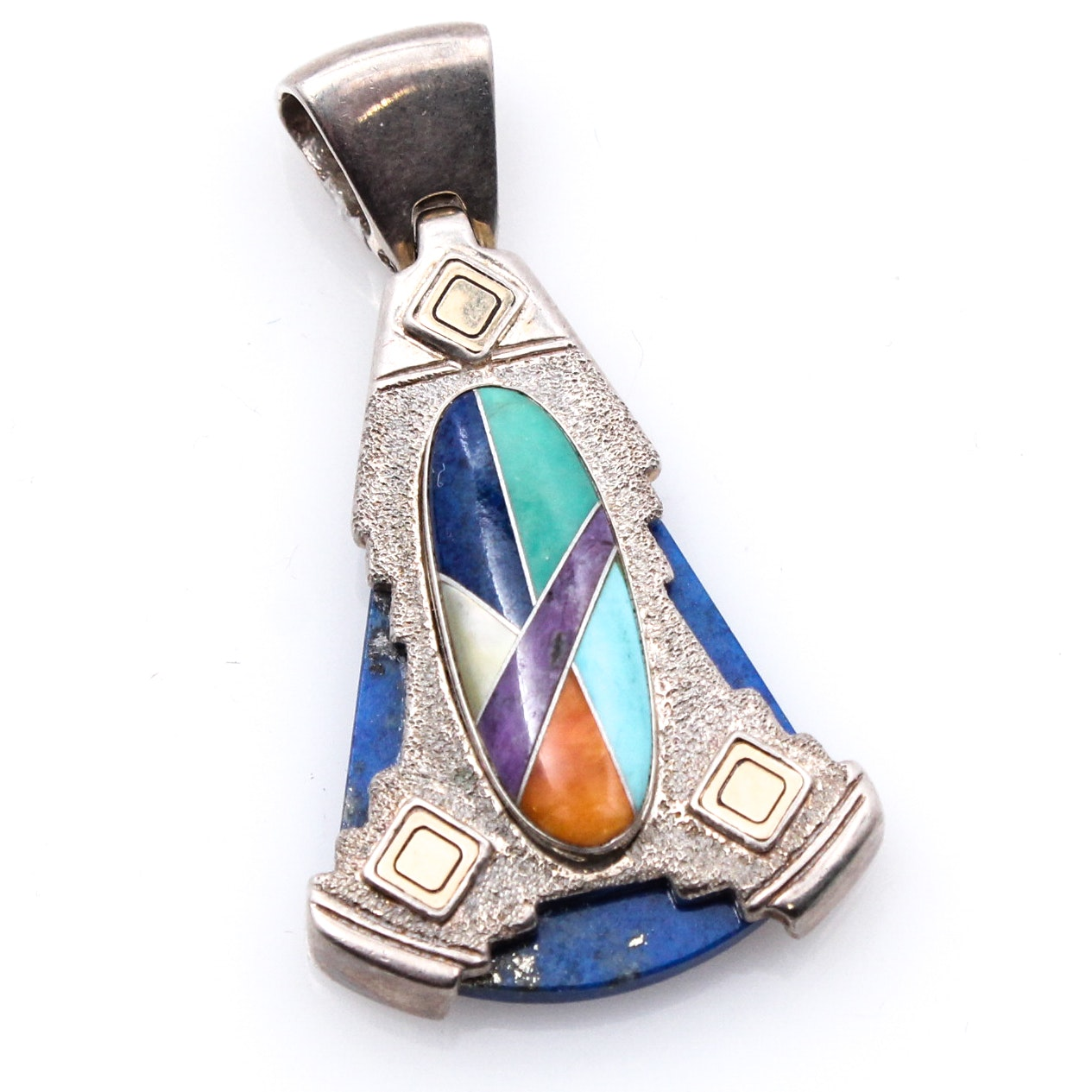Relios Sterling Silver and 14K Yellow Gold Pendant with Lapis Lazuli
