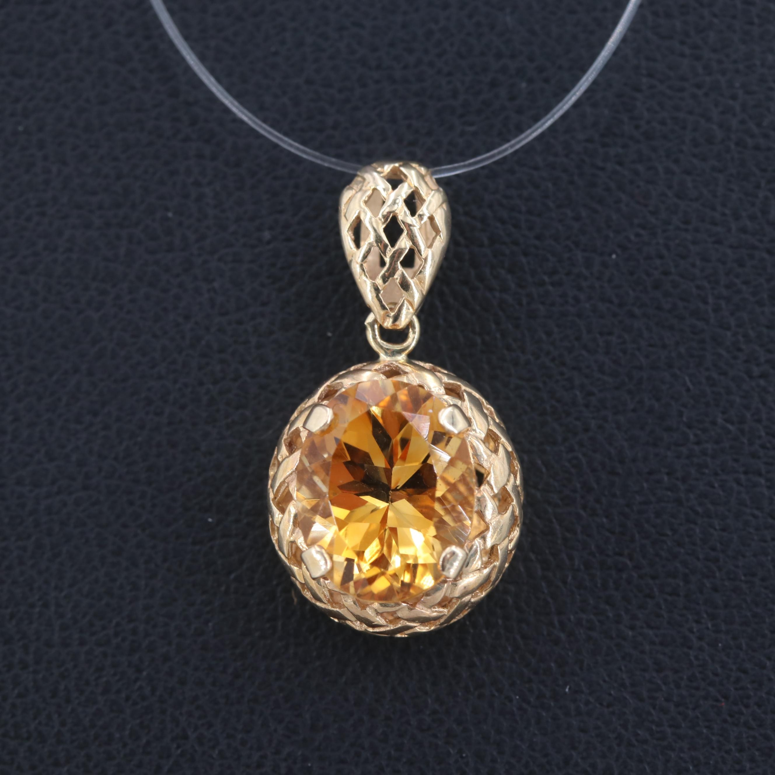 14K Yellow Gold Citrine Pendant