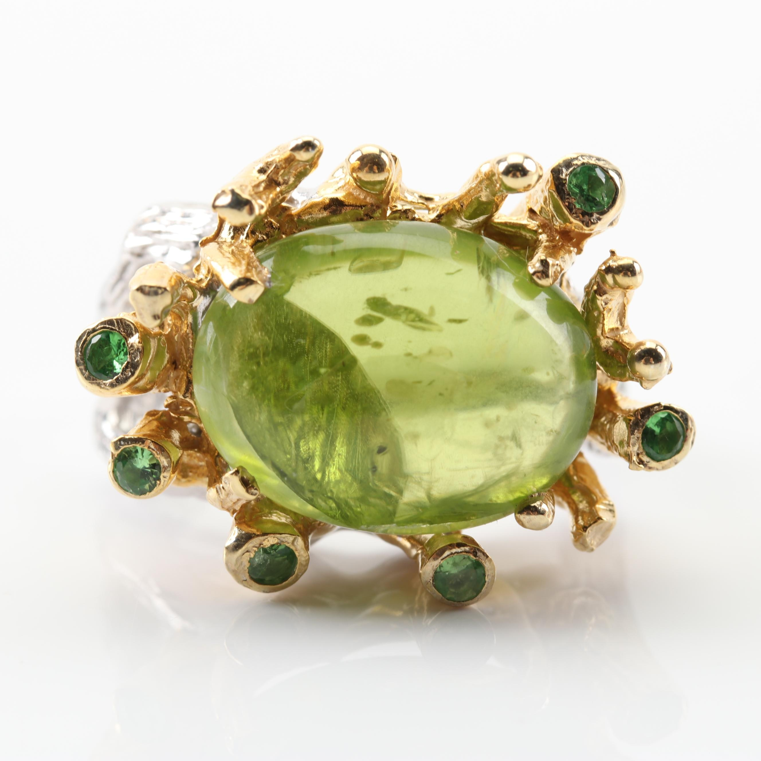 Sterling Silver 14.36 CTW Peridot Cabochon Ring With Gold Wash Accents