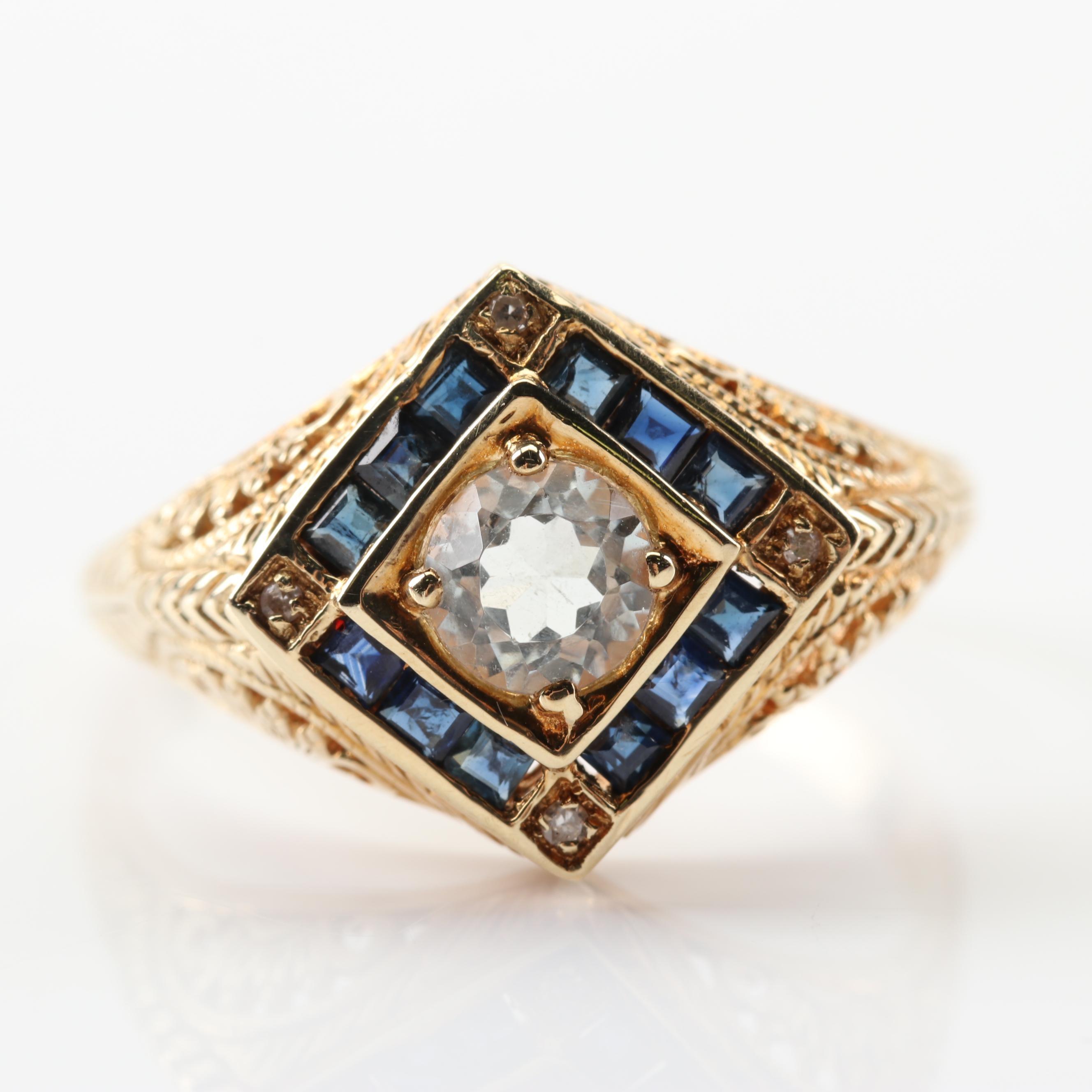 14K Yellow Gold Aquamarine Sapphire and Diamond Ring