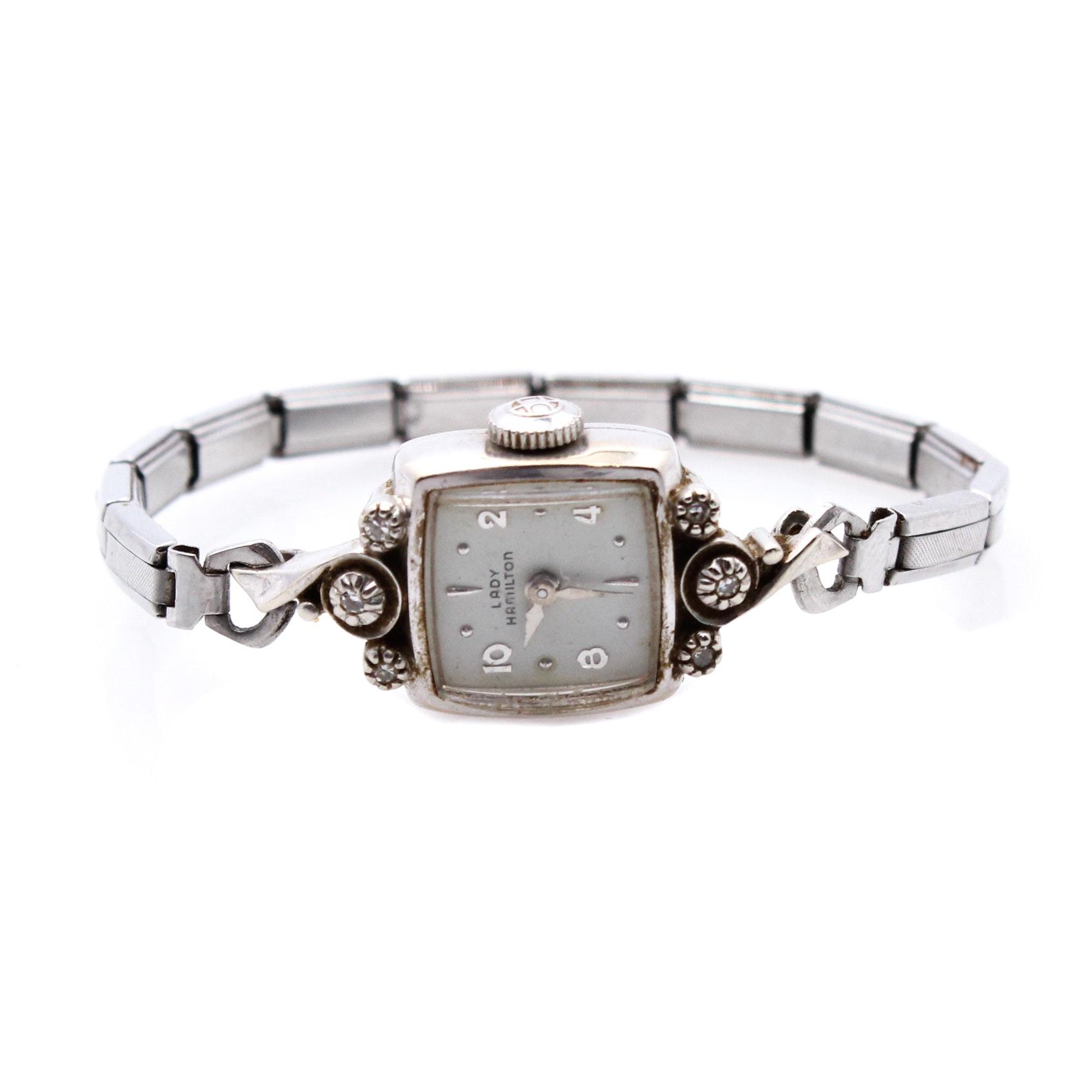 Lady Hamilton 14K White Gold Watch with Diamonds