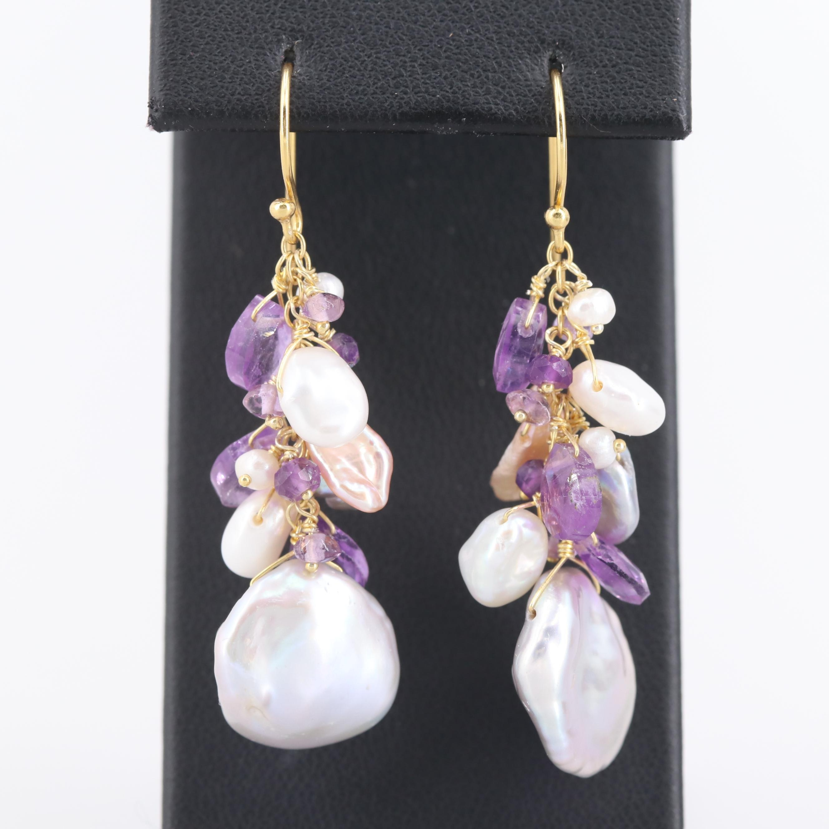 Gold Wash on Sterling Silver Amethyst and Cultured Pearl Dangle Earrings