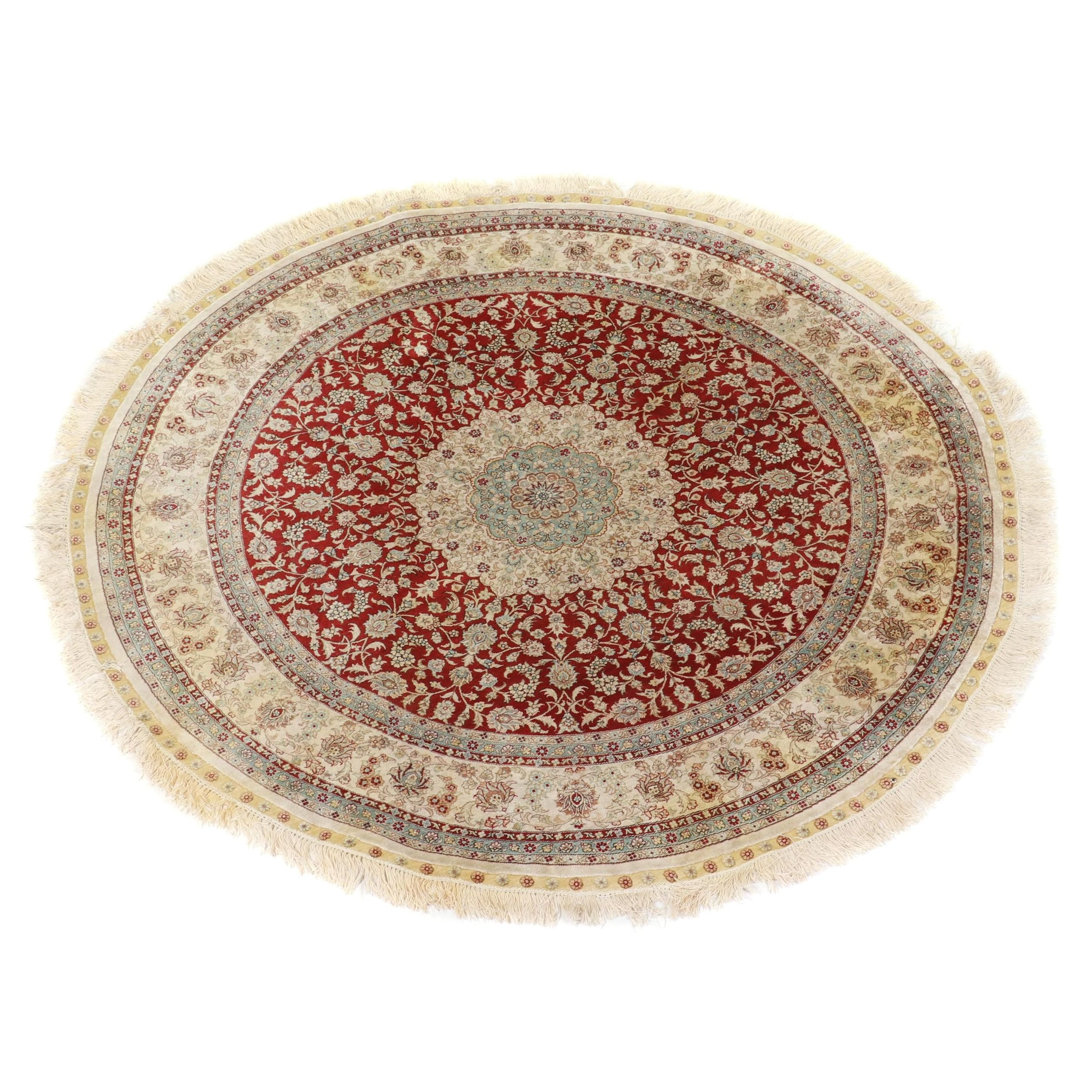 Hand-Knotted Turkish Silk and Wool Round Rug
