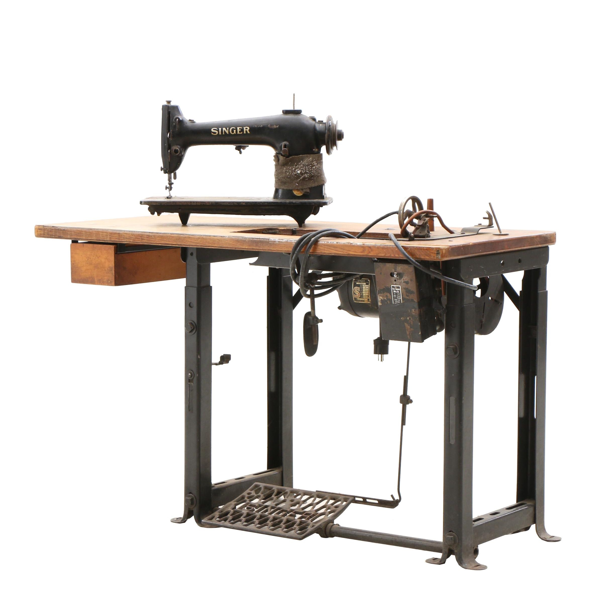 Vintage Industrial Singer Sewing Machine and Table