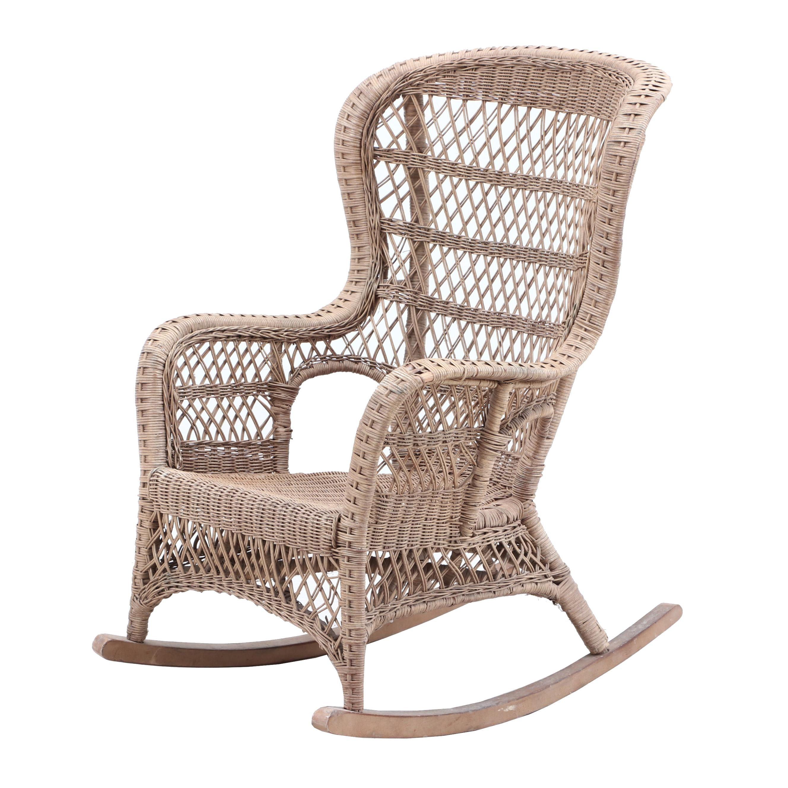 Woven Wicker Rocking Chair