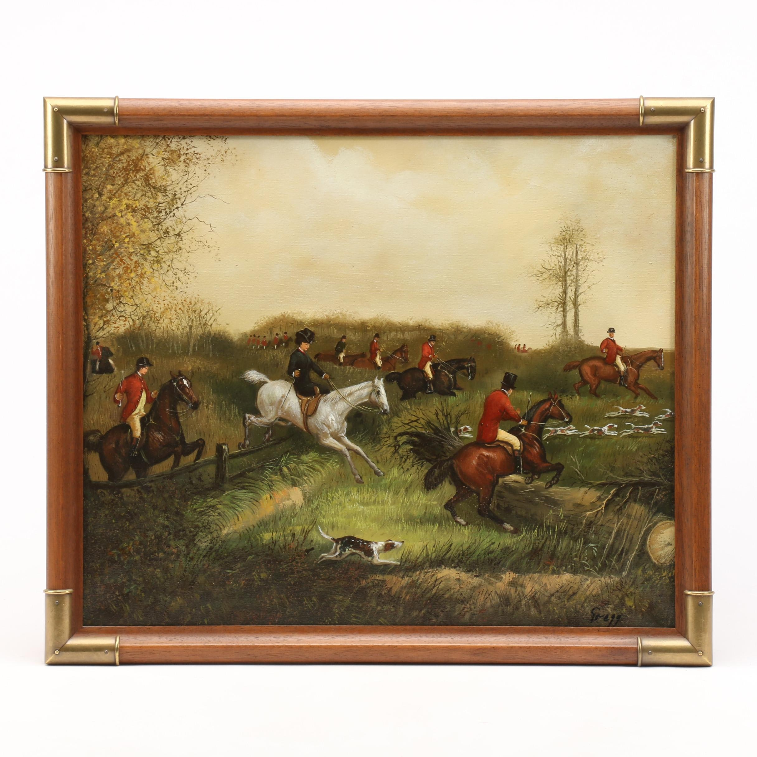 Gregg Contemporary Oil Painting of Hunt Scene
