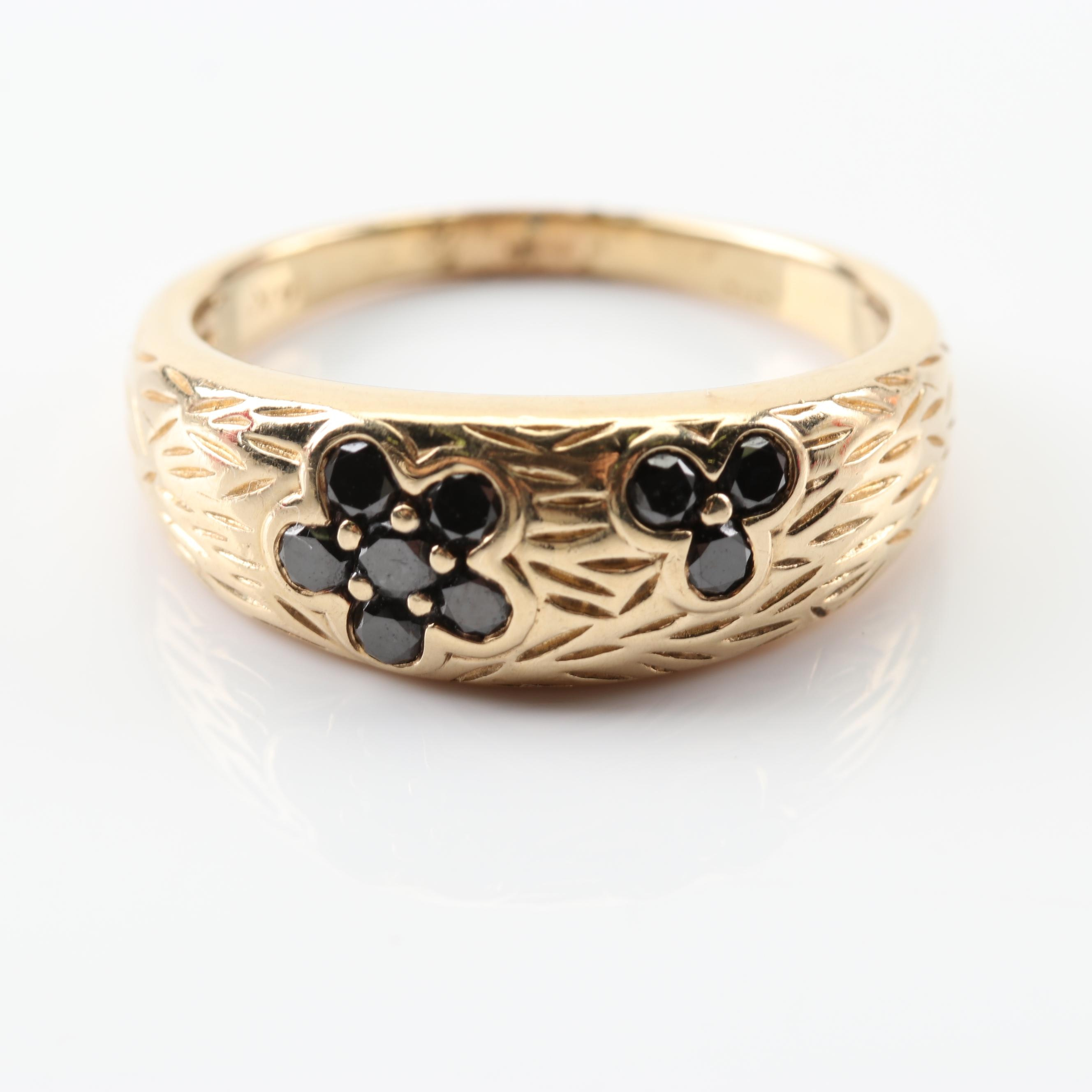 LeVian 14K Yellow Gold Black Diamond Flower Ring