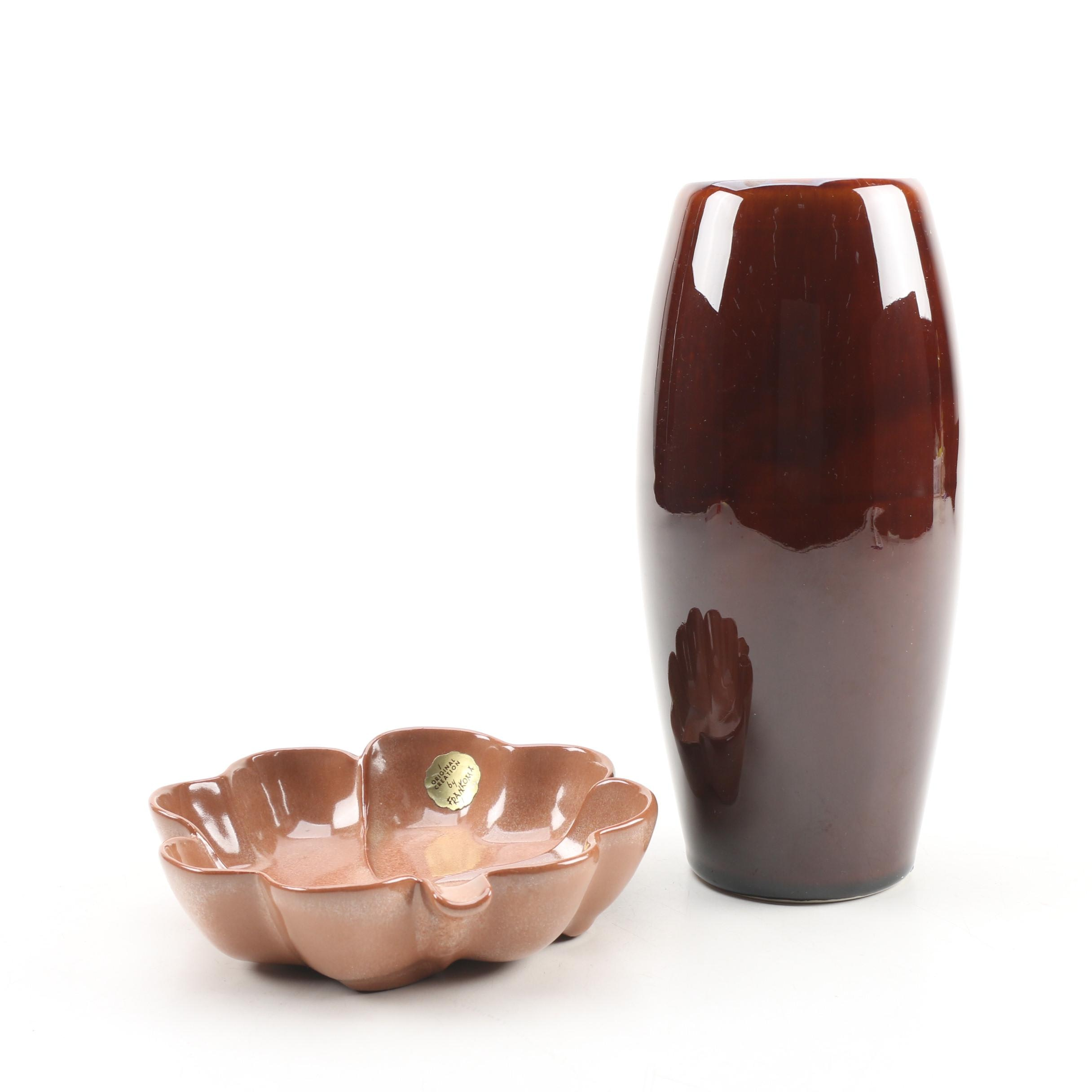 Frankoma Four Leaf Clover Ashtray with Brown Ceramic Vase, Mid/Late 20th Century