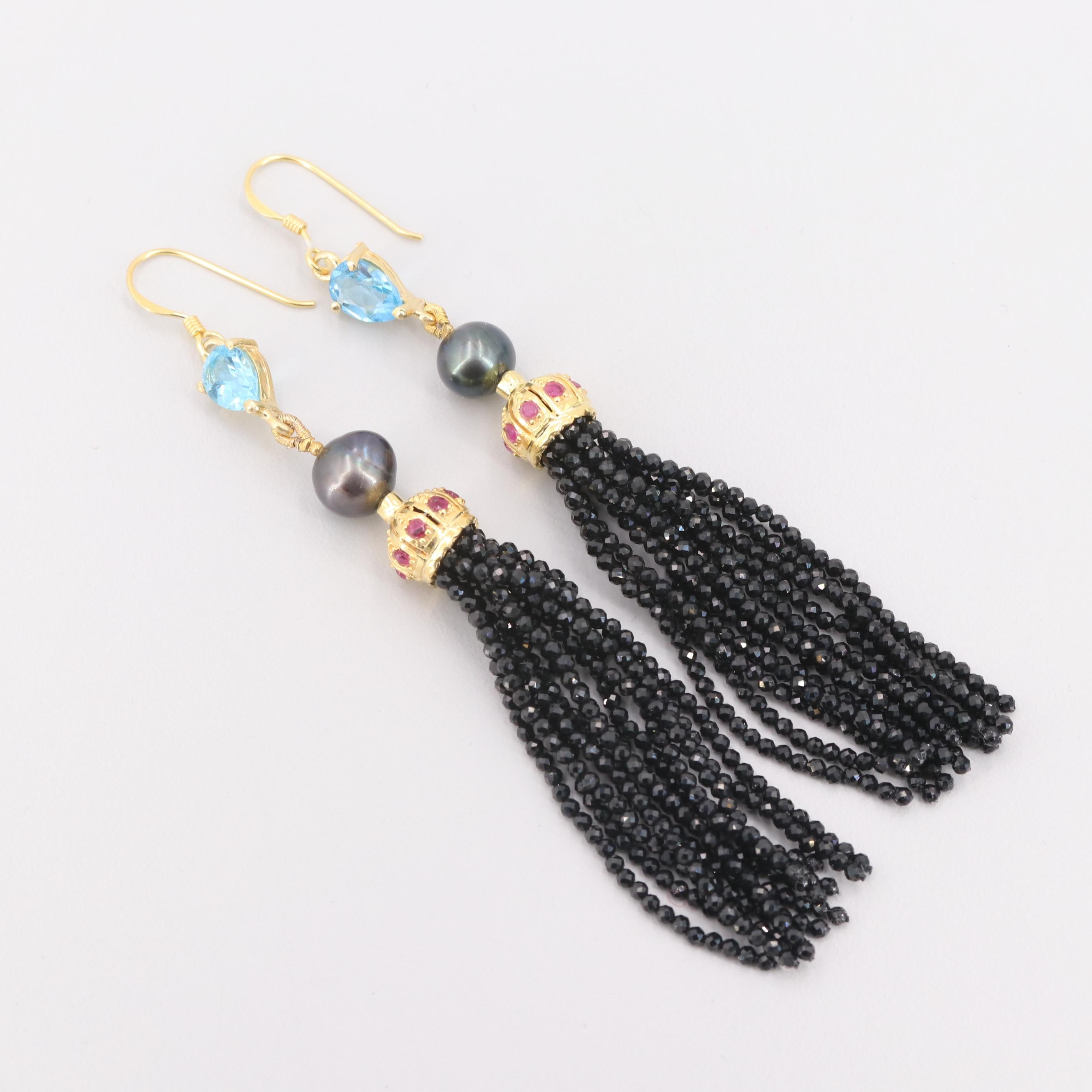 Gold Wash on Sterling Silver Cultured Pearl, Topaz and Gemstone Earrings