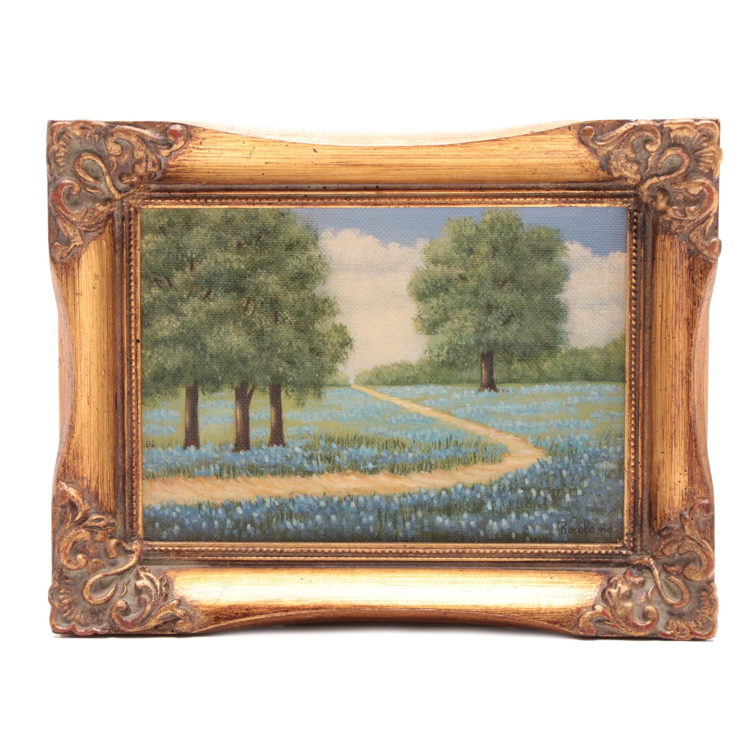 Rowland Oil Landscape Painting of Flowering Meadow