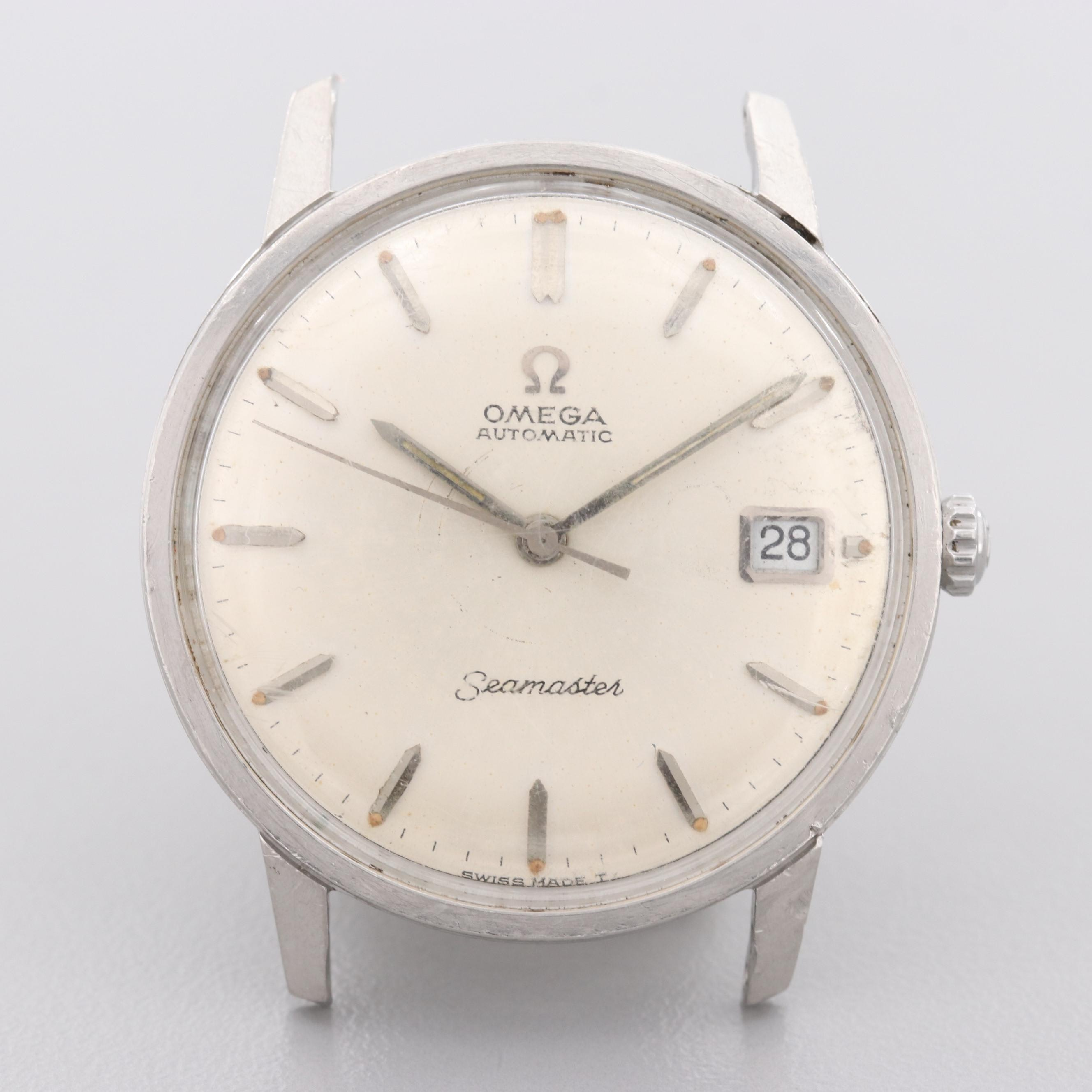Vintage Omega Seamaster Calendar Stainless Steel Automatic Wristwatch Timepiece