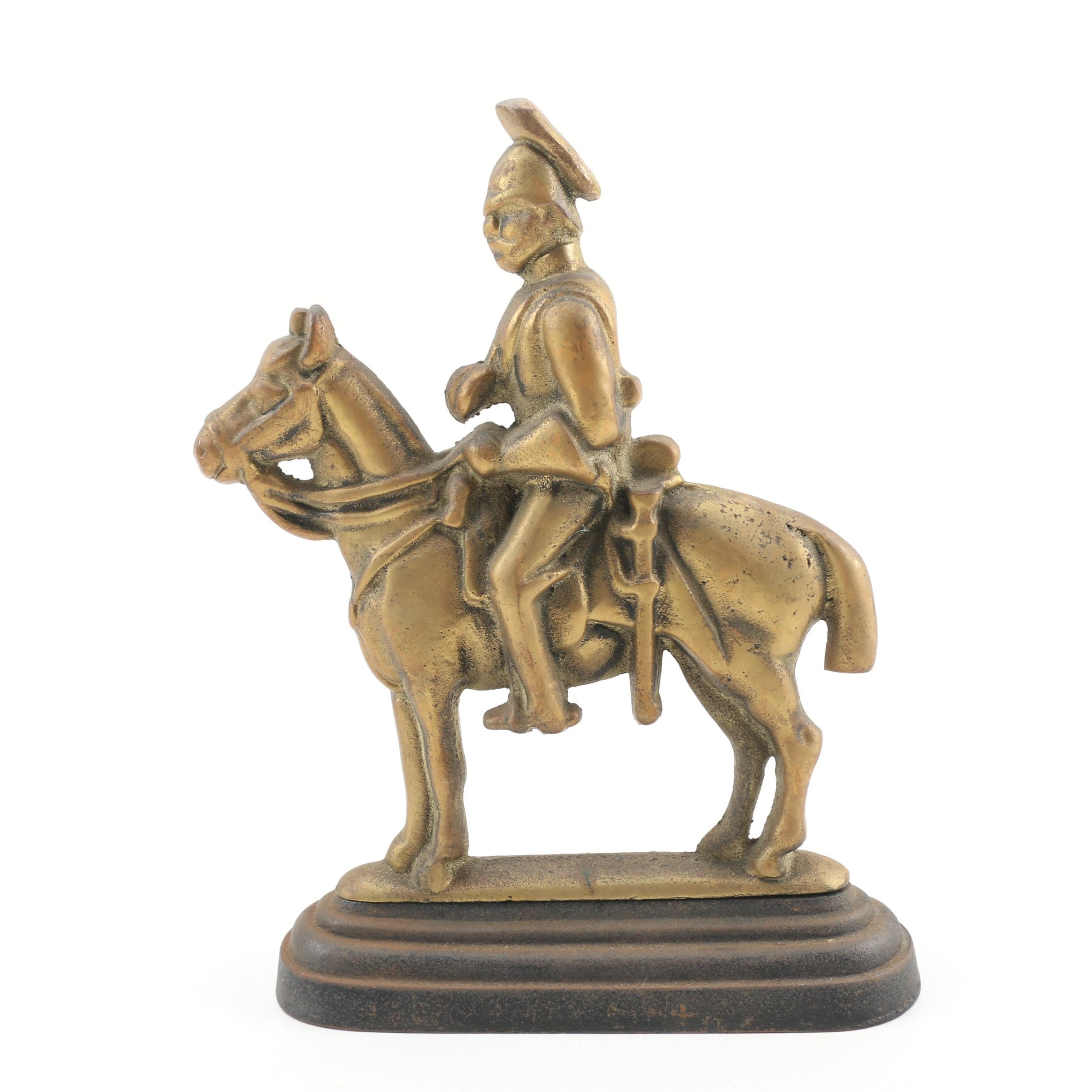 English Cast Iron Mounted Knight Doorstop, Early 20th Century