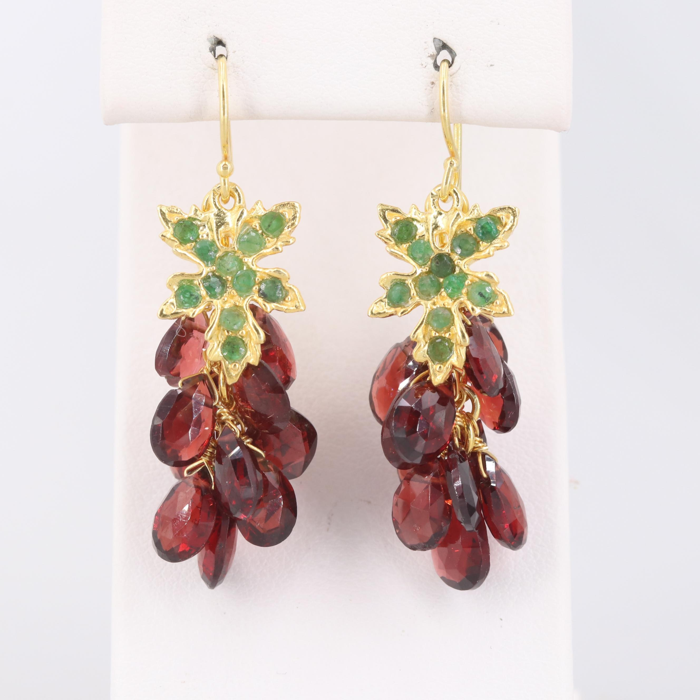 Gold Wash on Sterling Silver Emerald and Garnet Grape Earrings