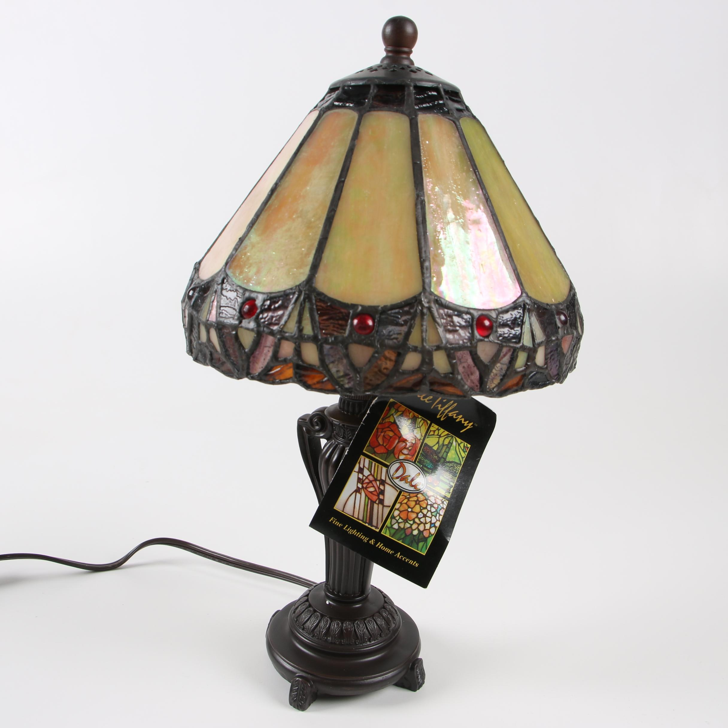 """Dale Tiffany Handmade """"Peacock"""" Stained Glass Table Lamp"""
