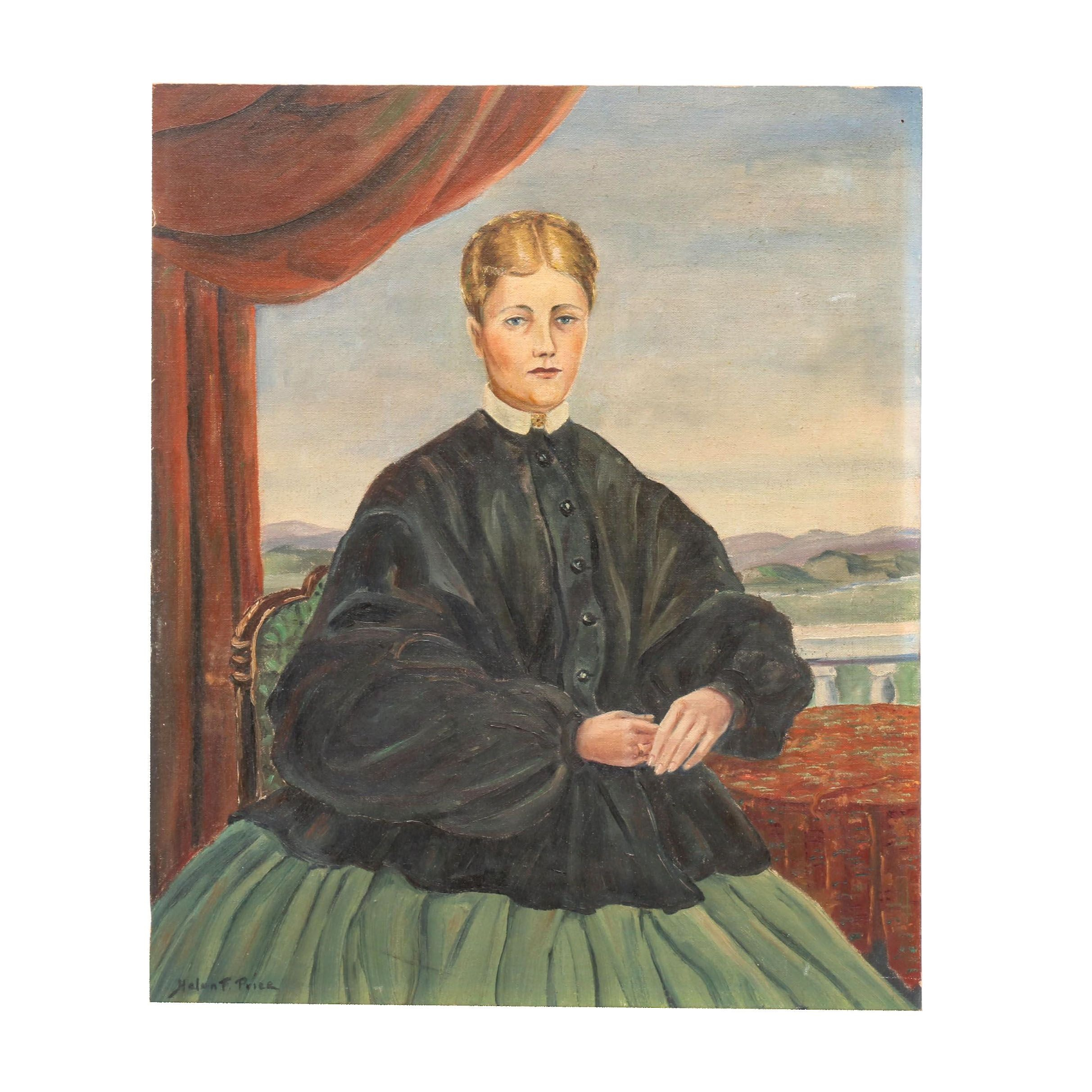 Helen F. Price Oil Painting Portrait of a Young Women