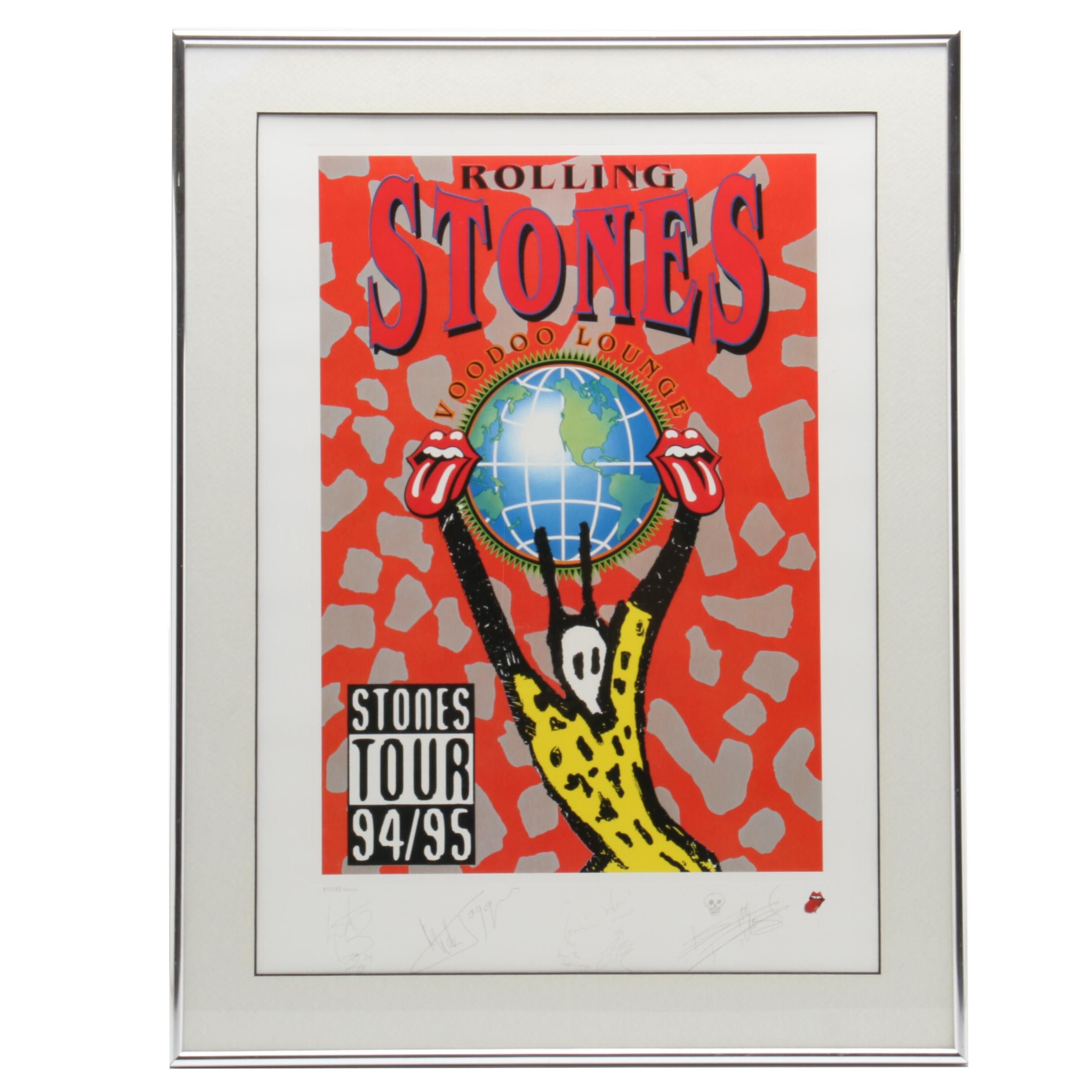 "1994 Framed Rolling Stones Signed Limited ""Voodoo Lounge"" Tour Poster   COA"