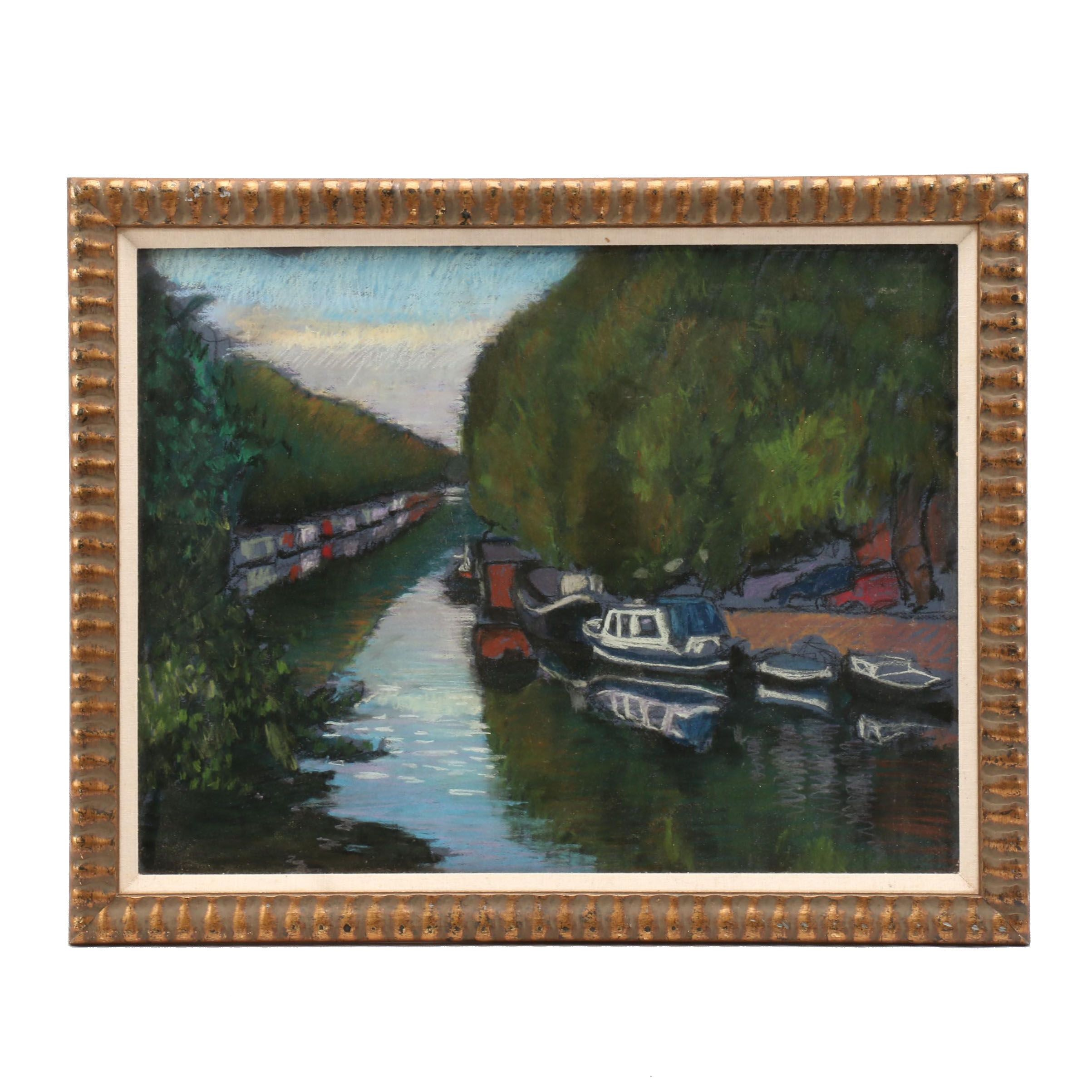 Late 20th Century Impressionistic Style Canal Charcoal Drawing