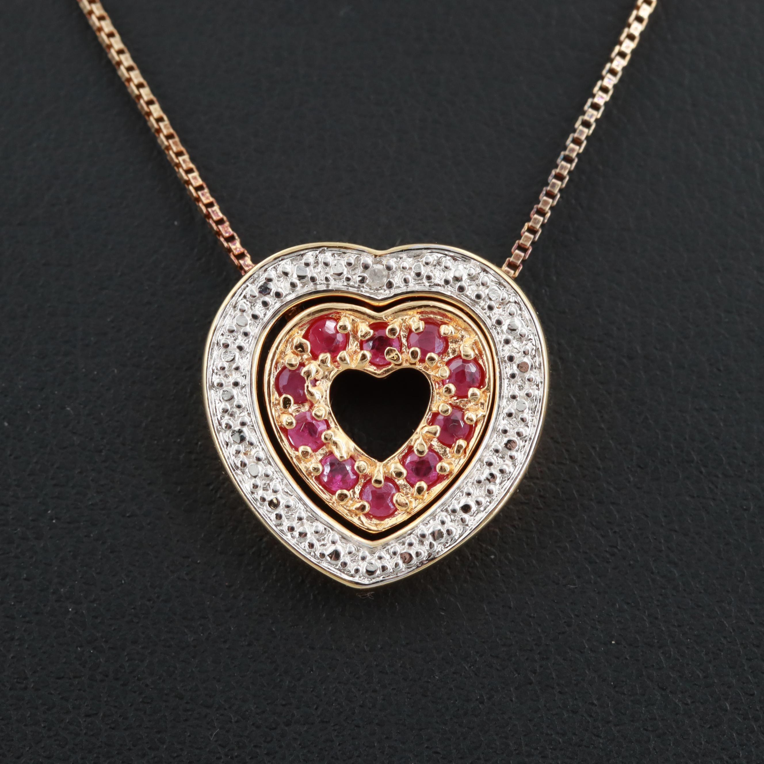 Gold Wash on Sterling Ruby and Diamond Heart Necklace