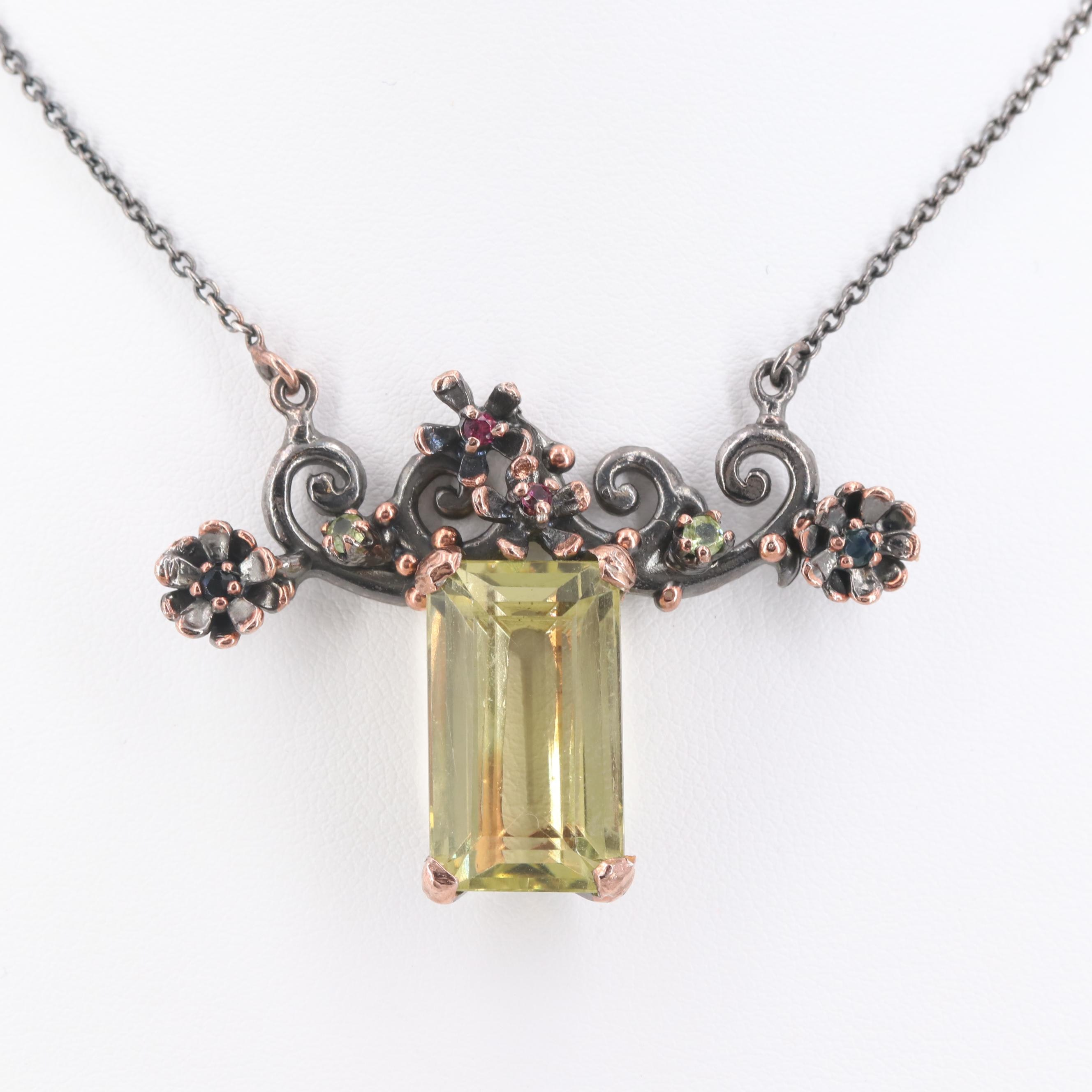 Sterling Silver Citrine, Ruby and Gemstone Necklace with Rose Tone Accents