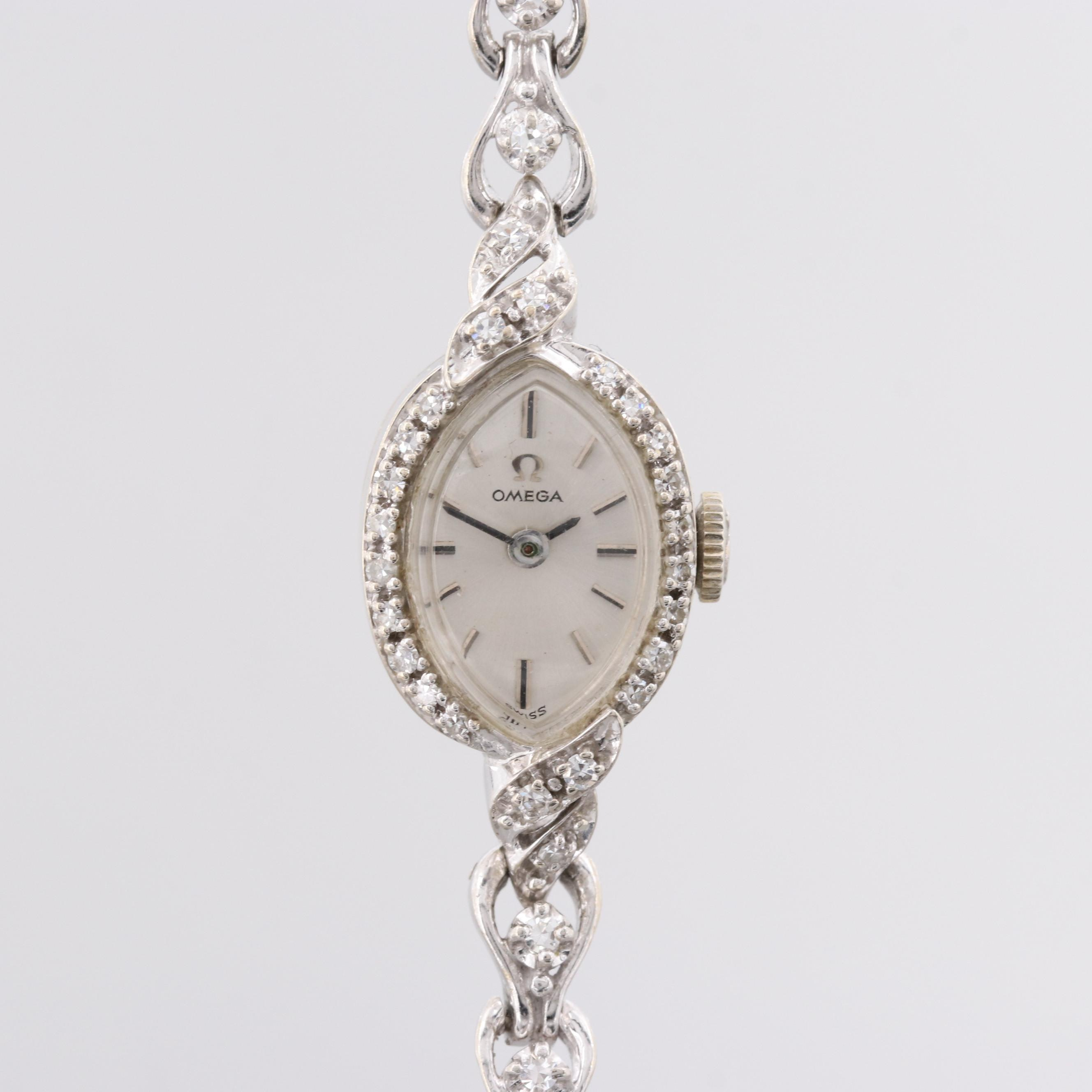 Omega 14K White Gold Diamond Wristwatch