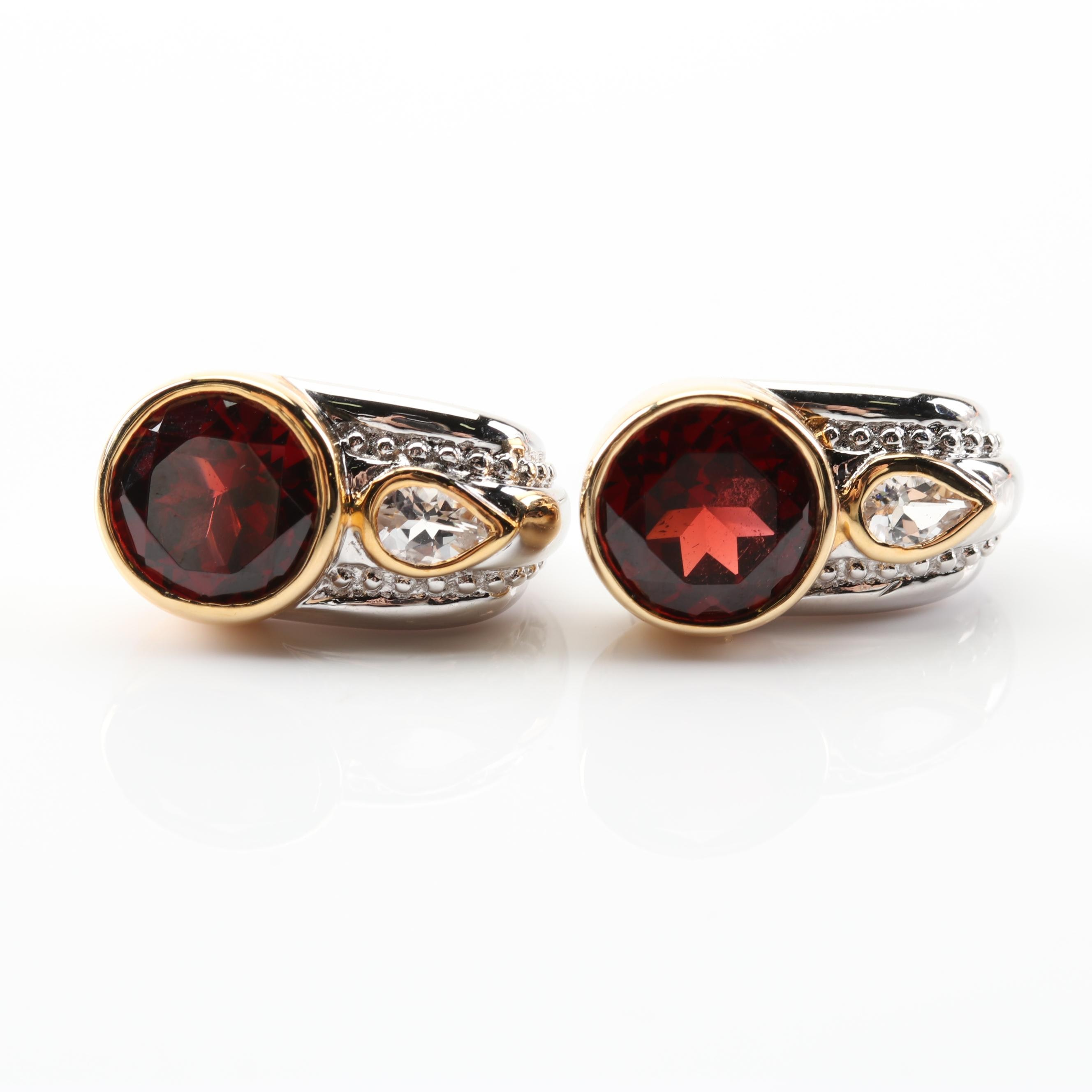 Sterling Silver 5.36 CTW Garnet Topaz Drop Earrings With Gold Wash Accents