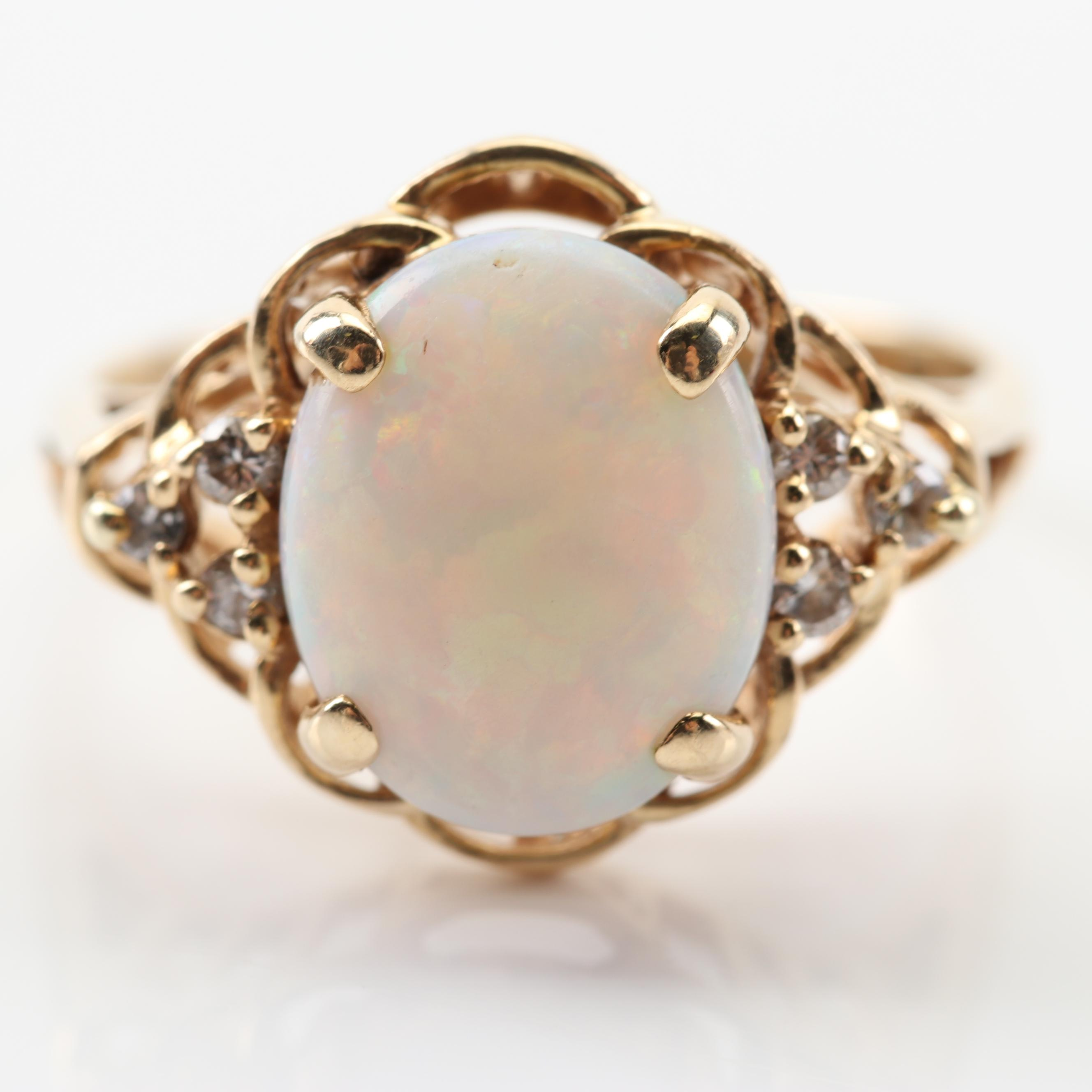 14K Yellow Gold 2.40 CT Opal and Diamond Ring
