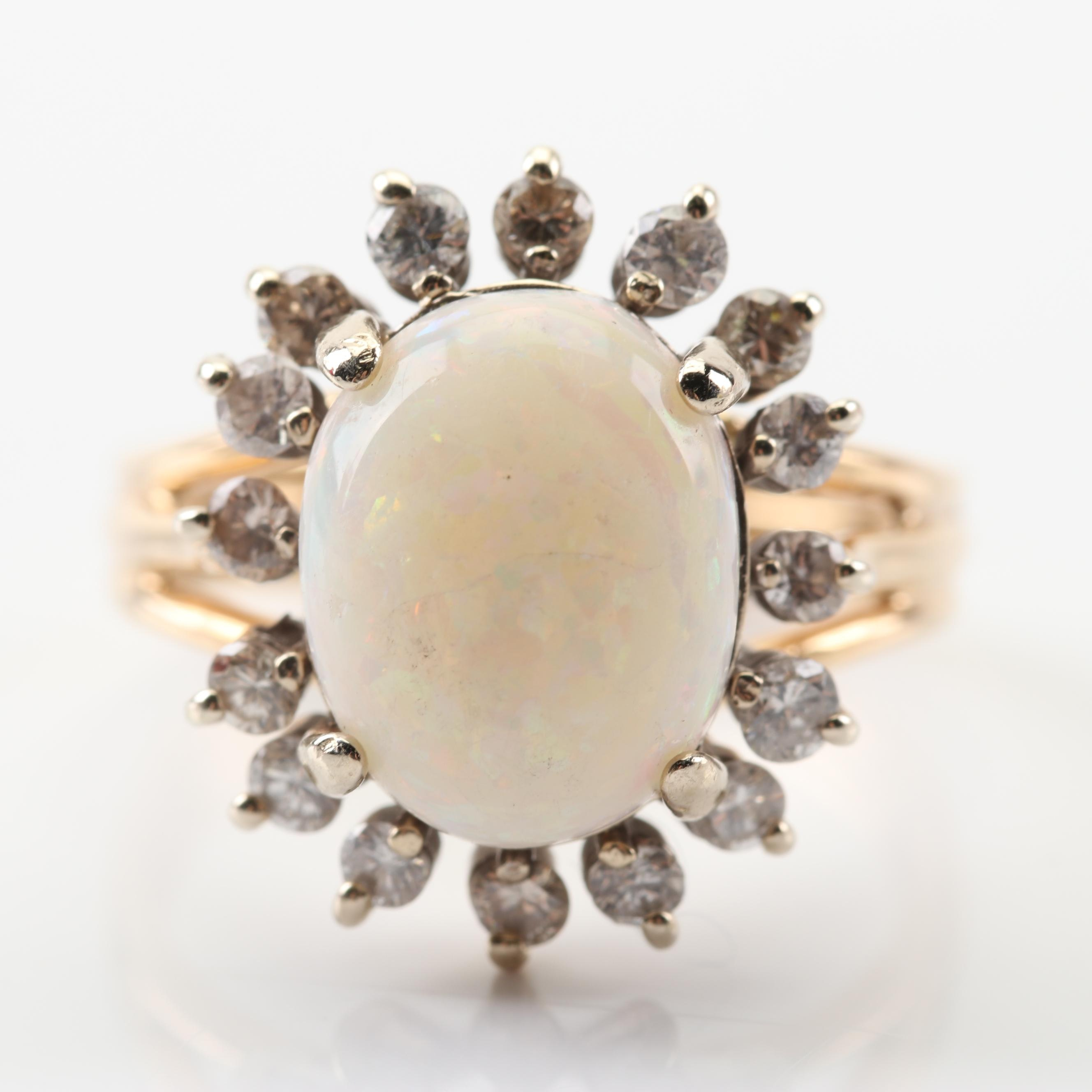 14K Yellow Gold 2.50 Ct Opal and Diamond Ring