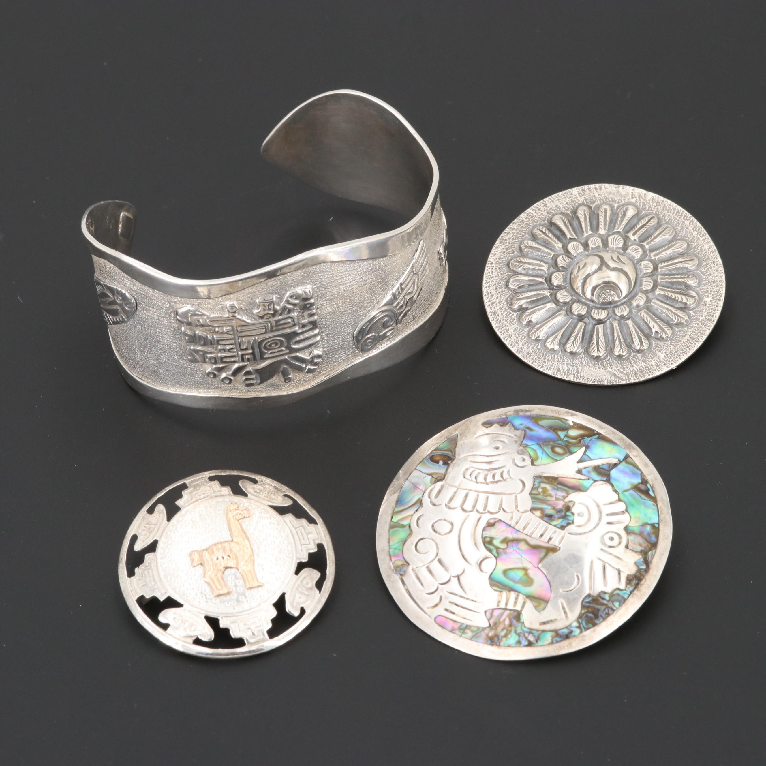 Mexican Sterling Silver Brooches and Cuff Bracelet Including Abalone
