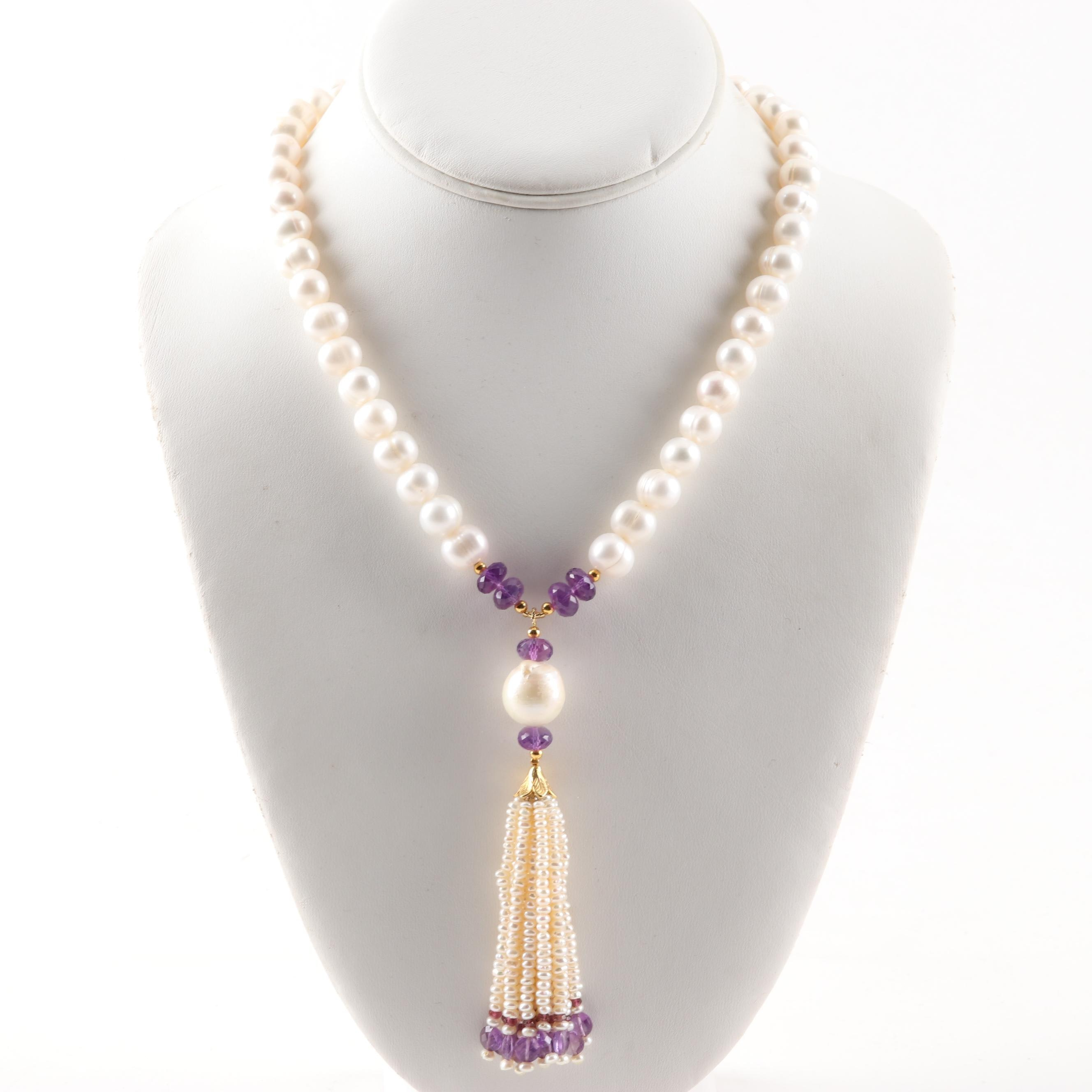 Sterling Silver Freshwater Pearl, Amethyst and Tourmaline Necklace