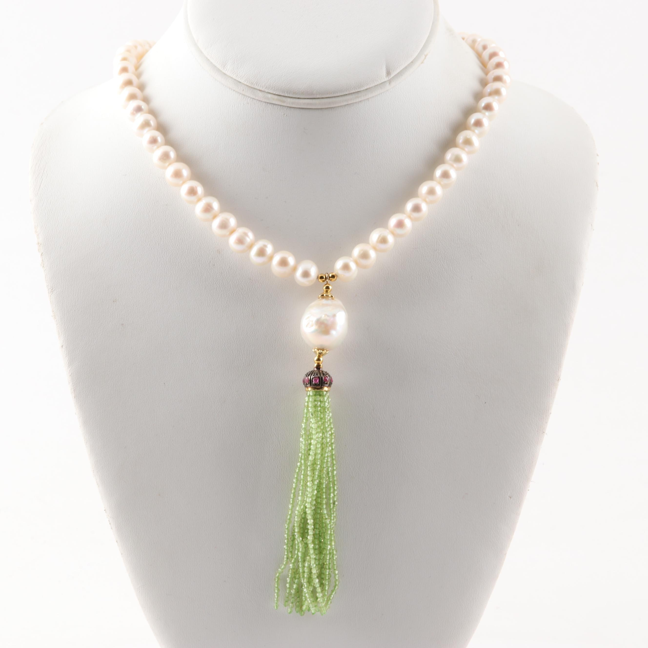 Sterling Silver Freshwater Pearl Strand Necklace With a Ruby and Peridot Tassel