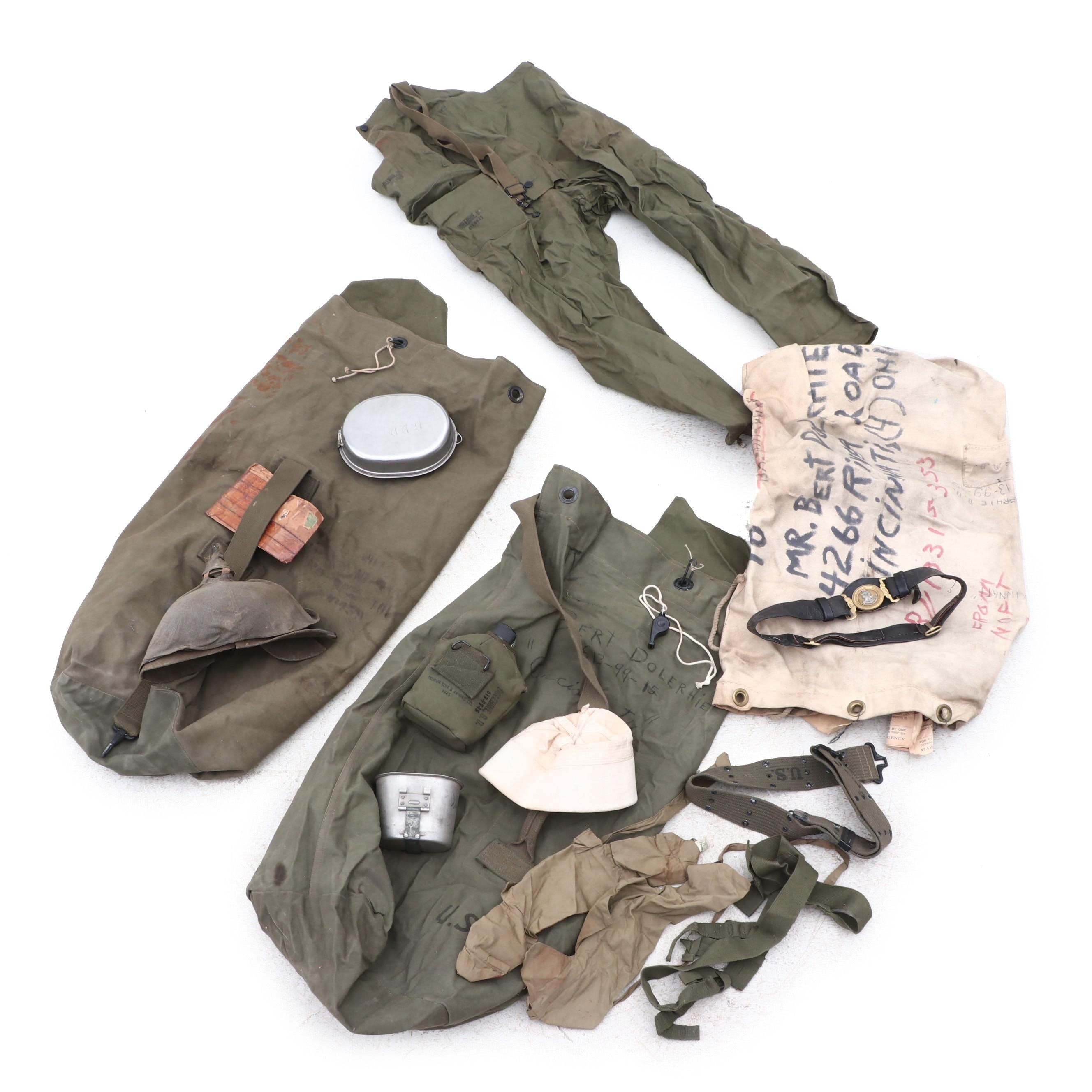 WWII Military Bags, Hats, Belts, Pants, Canteen, and More