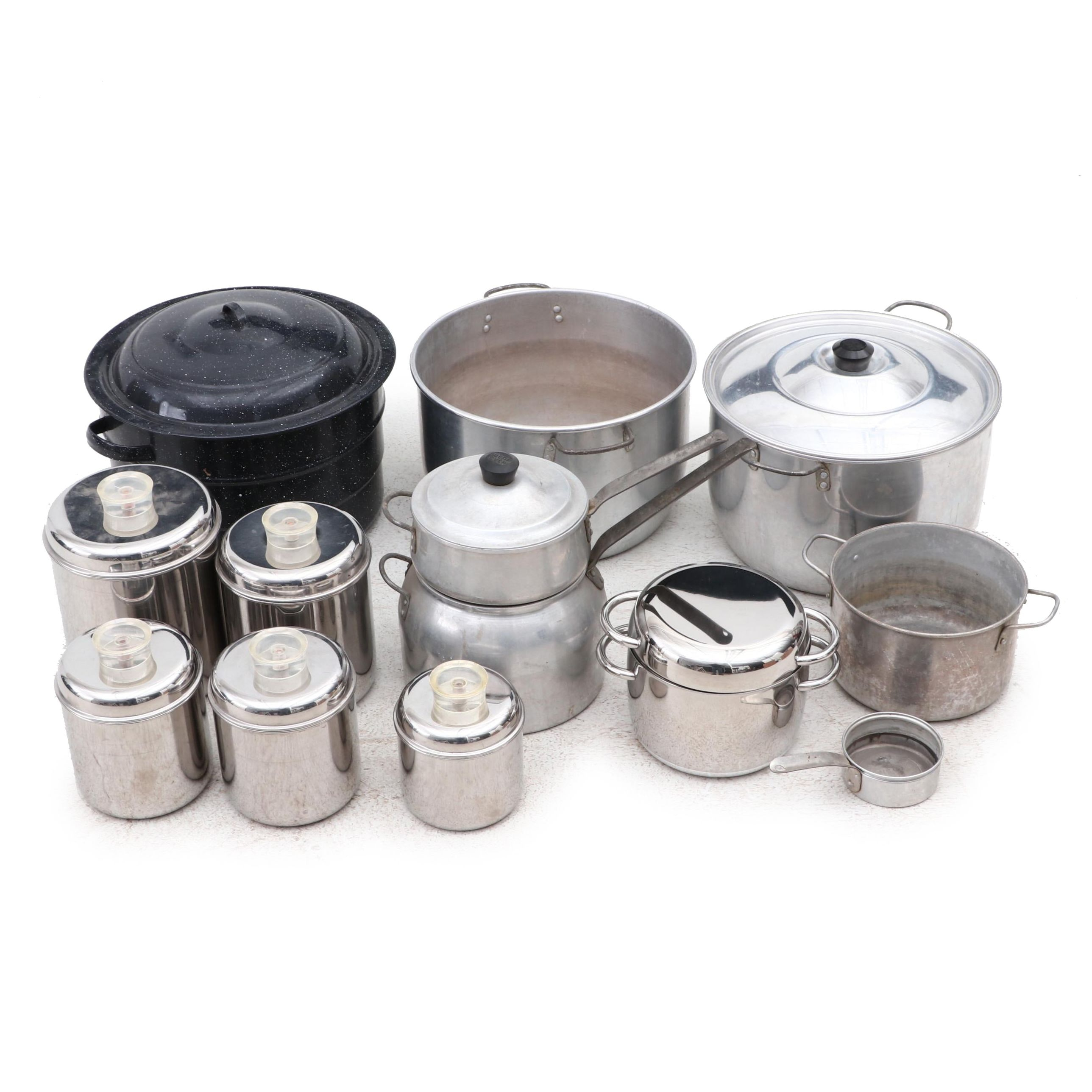 Stock Pots, Double Boilers, Sauce Pot and Lidded Storage Canisters