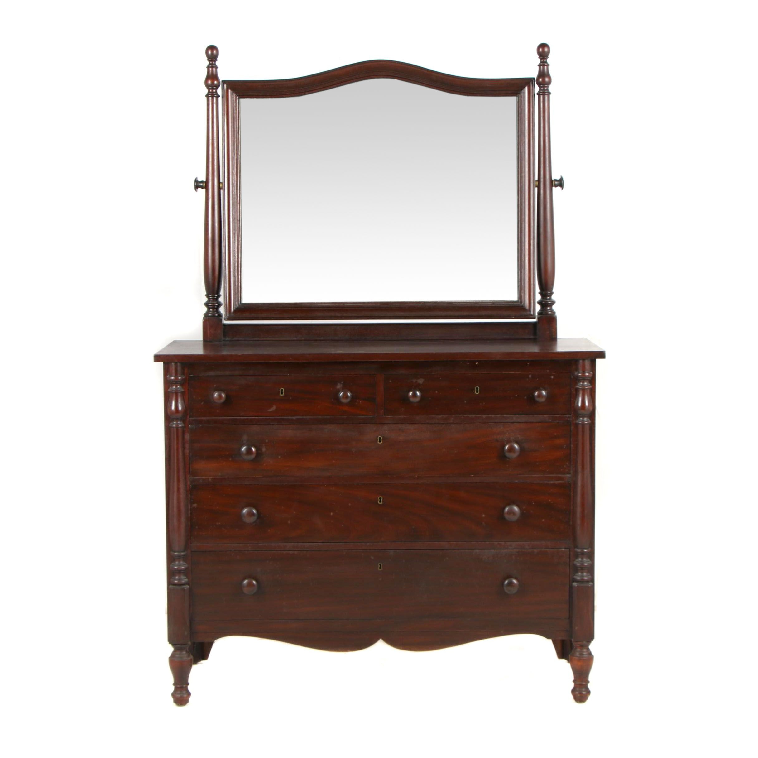 Colonial Revival Style Chest of Drawers with Mirror, in Mahogany, Late 19th C.