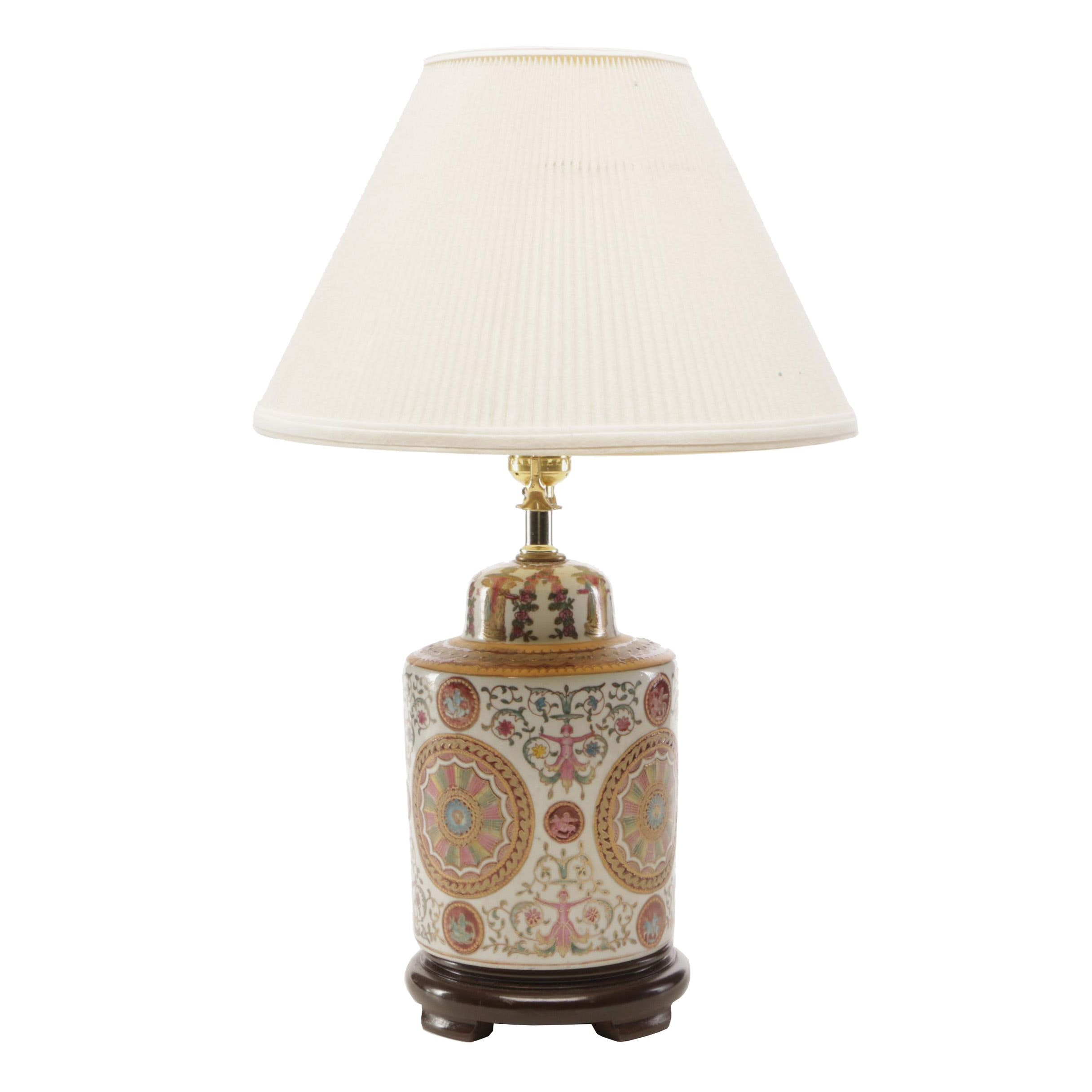 Hand-Painted Neoclassical Style Vase Form Table Lamp
