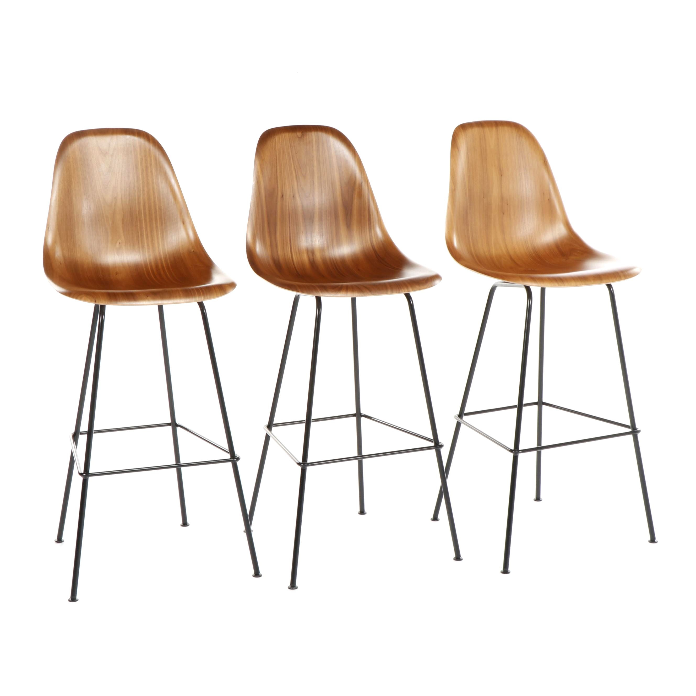 Contemporary Eames Molded Walnut Barstools With Black Steel Base