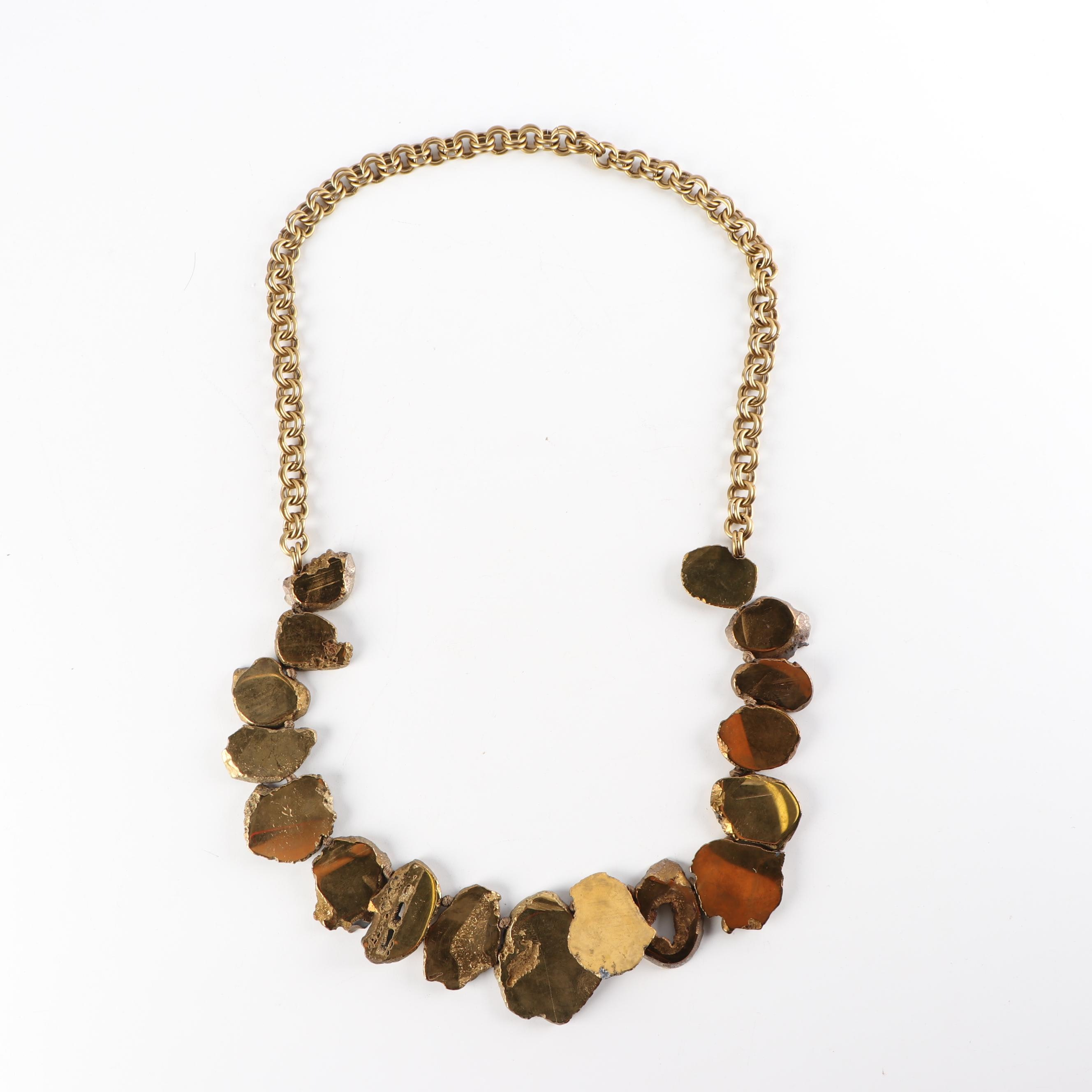 Gold Tone and Metallic Sliced Geode Necklace