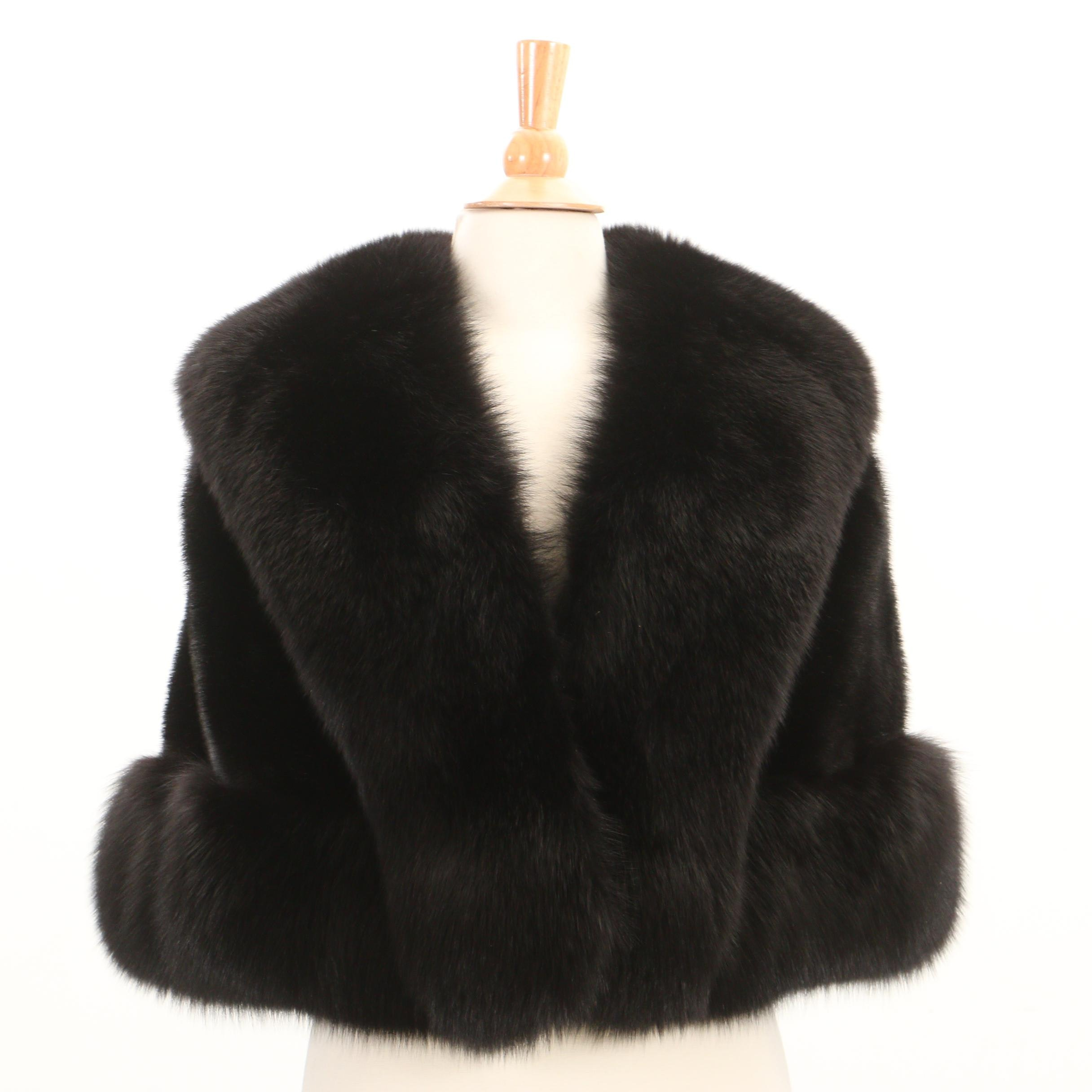 Blackglama Dark Ranch Mink Fur Stole with Fox Fur Trim