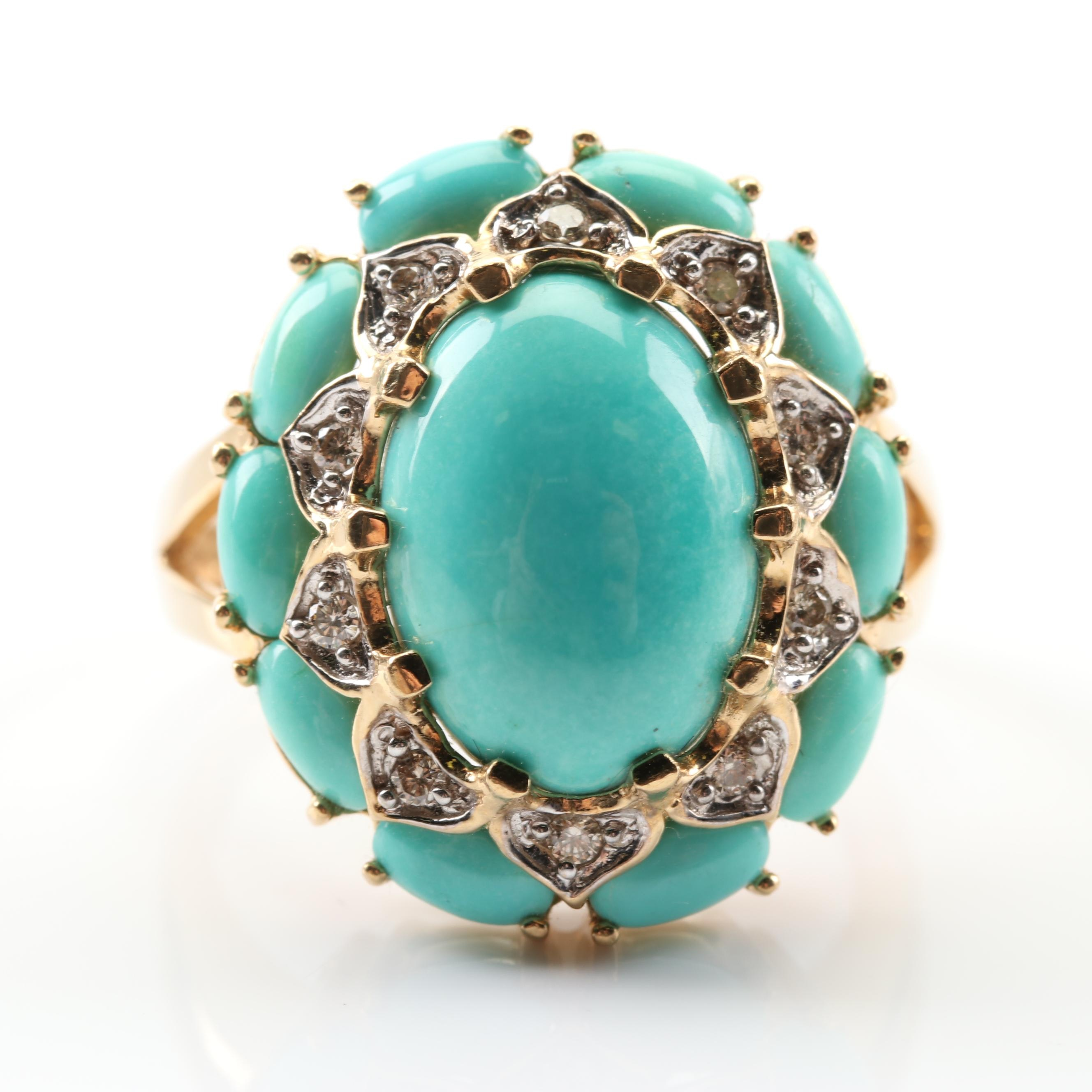 LeVian 14K Yellow Gold Turquoise and Diamond Ring