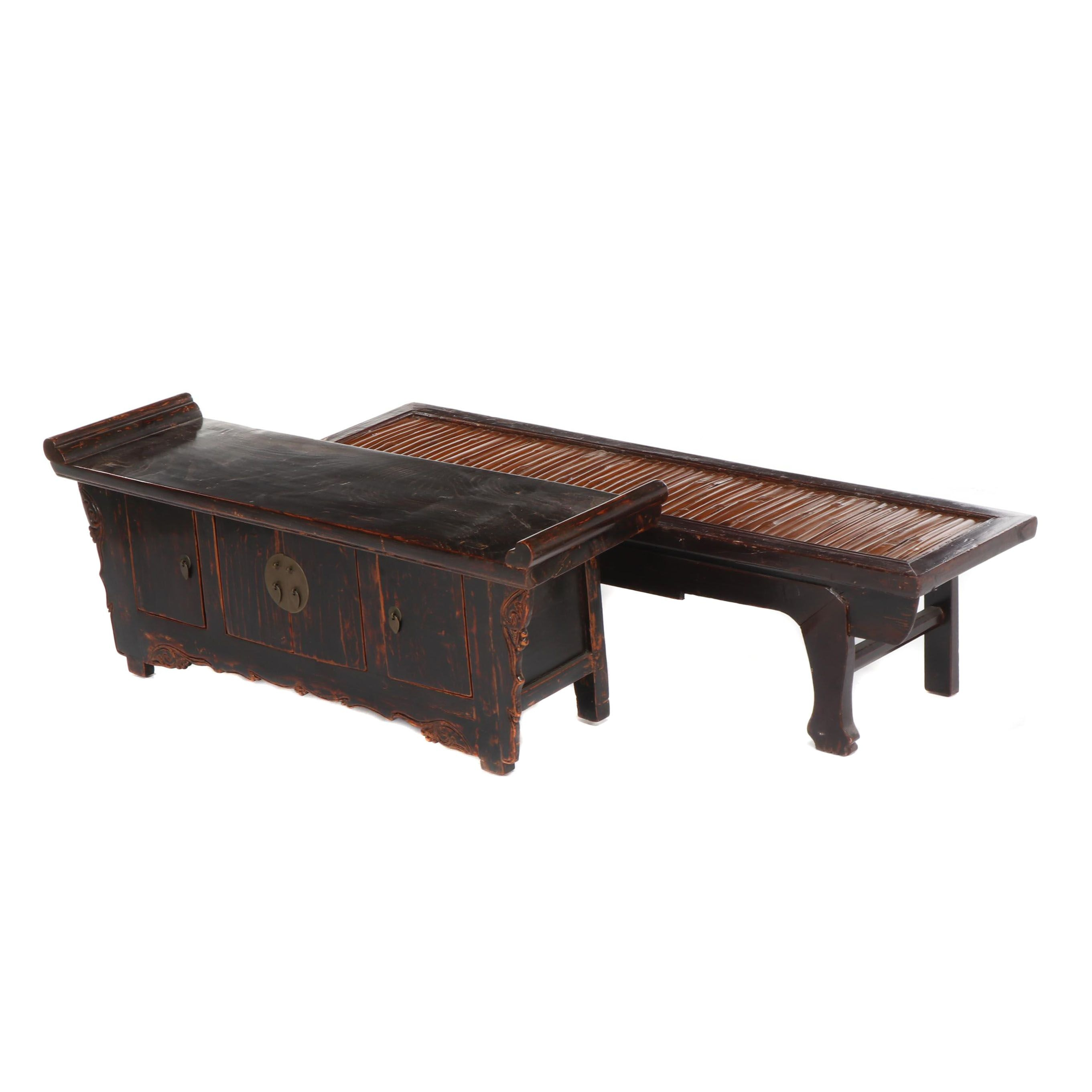 Chinese Red Lacquered Accent Benches