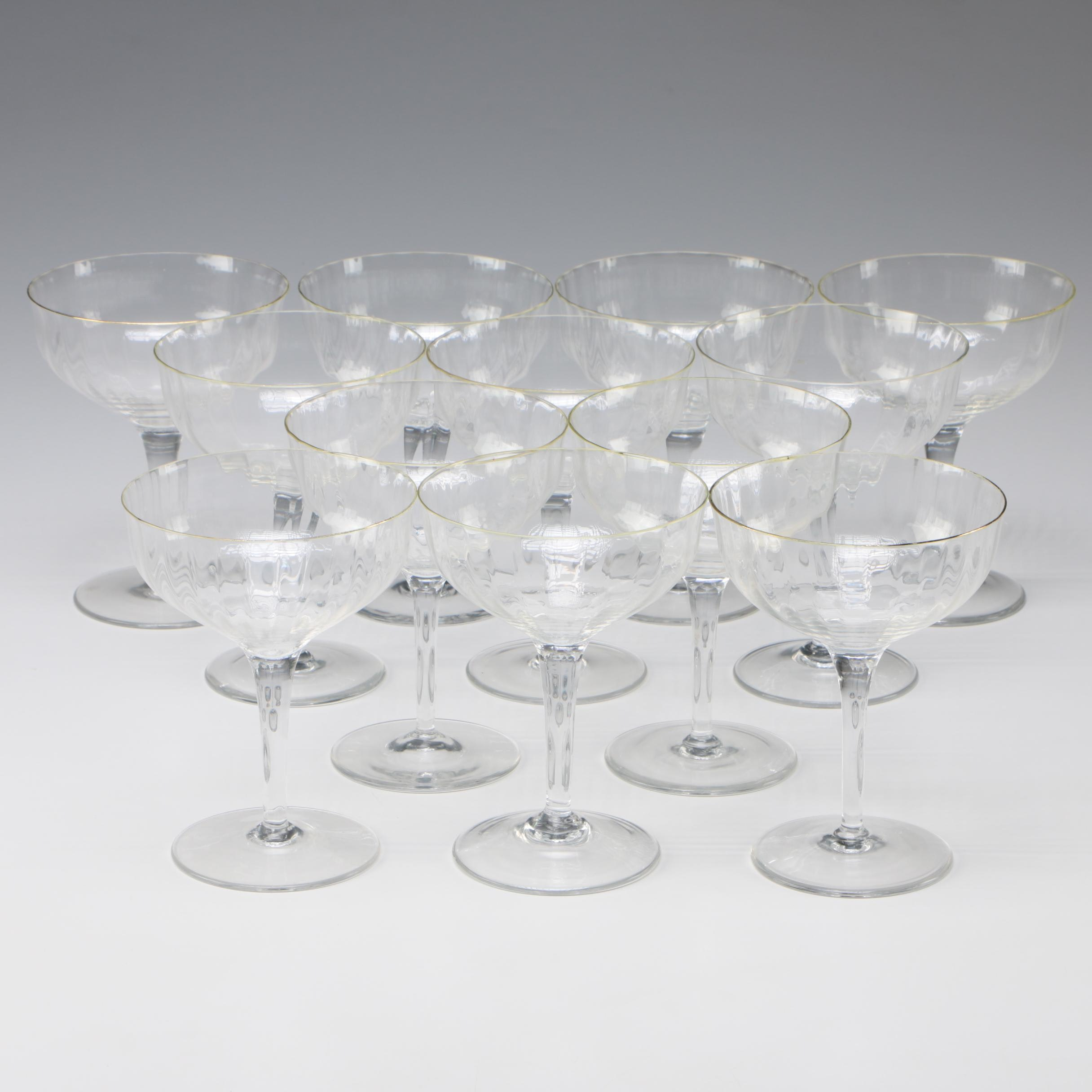 "Gorham ""Laurin Gold"" Crystal Champagne Coupes"