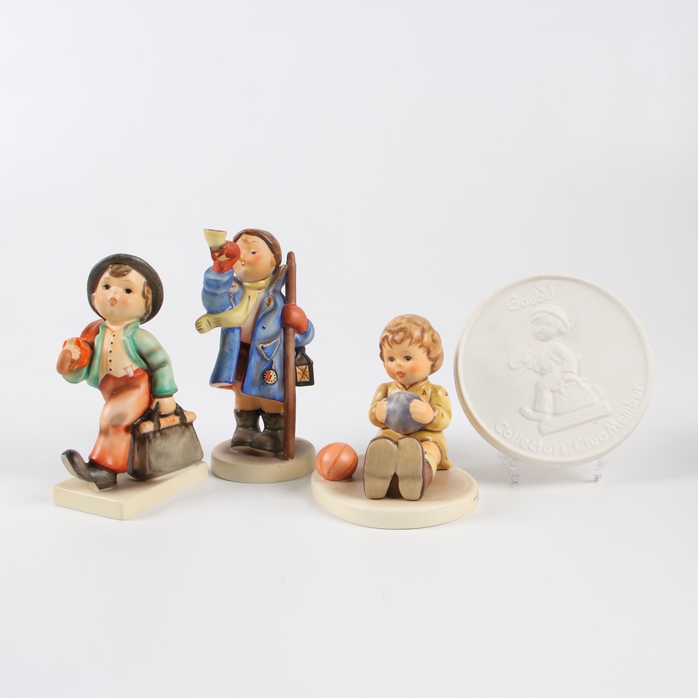 Goebel Hummel Porcelain Figurines and Bisque Plaque, Mid/Late 20th Century