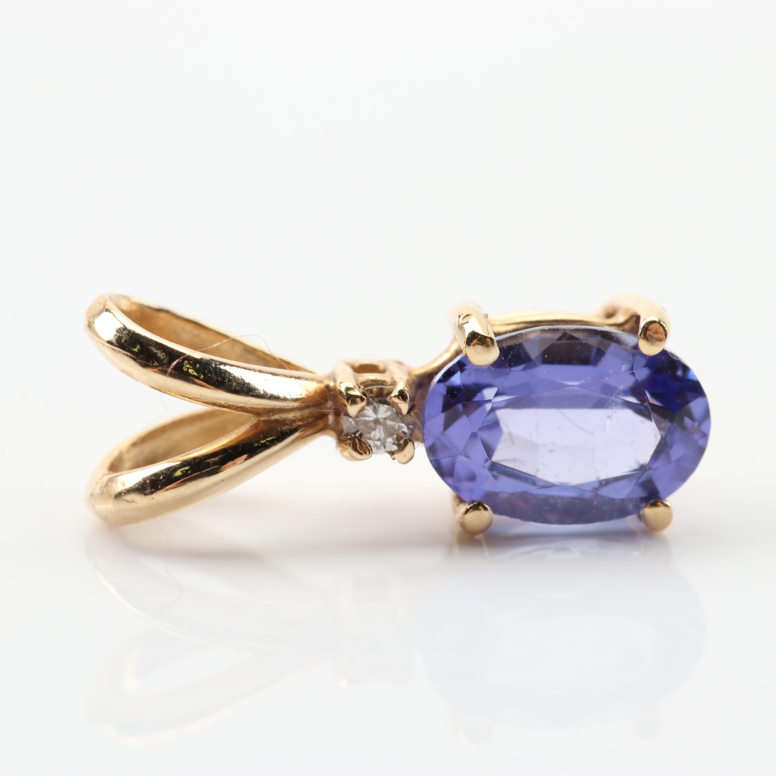 14K Yellow Gold Tanzanite and Diamond Pendant